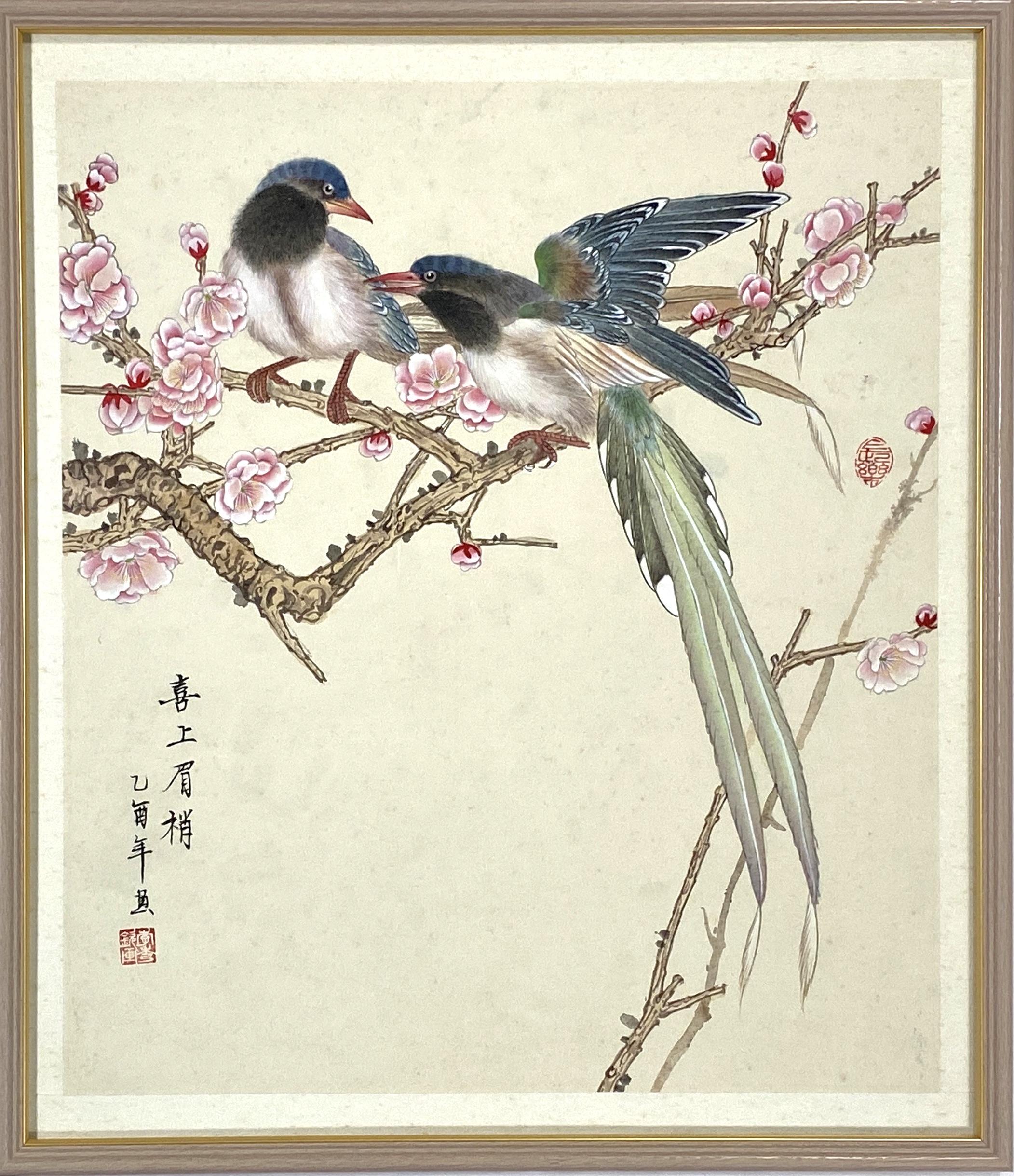 20568「李岑鉄」画 花鳥図 額50×44cm