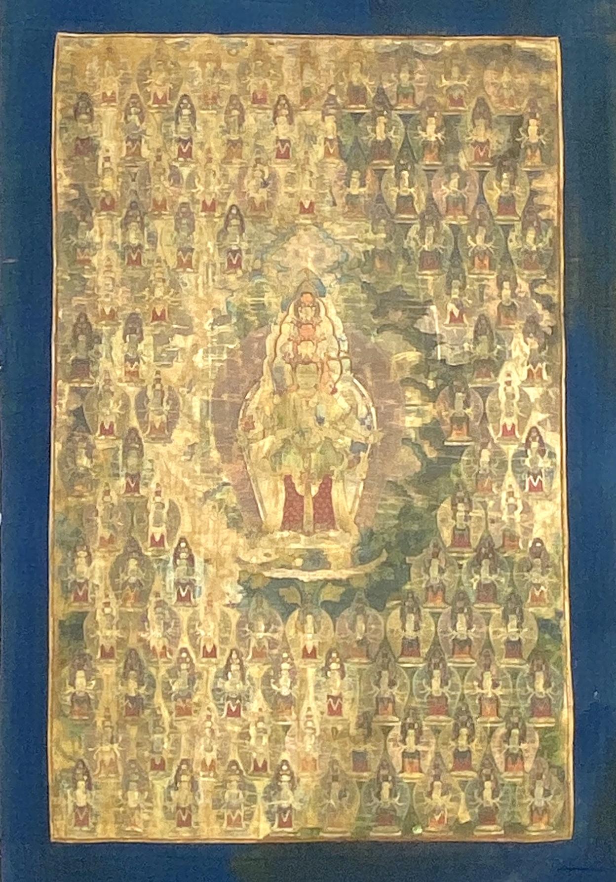 20594西蔵十七世紀 千手観音 唐卡76×49cm