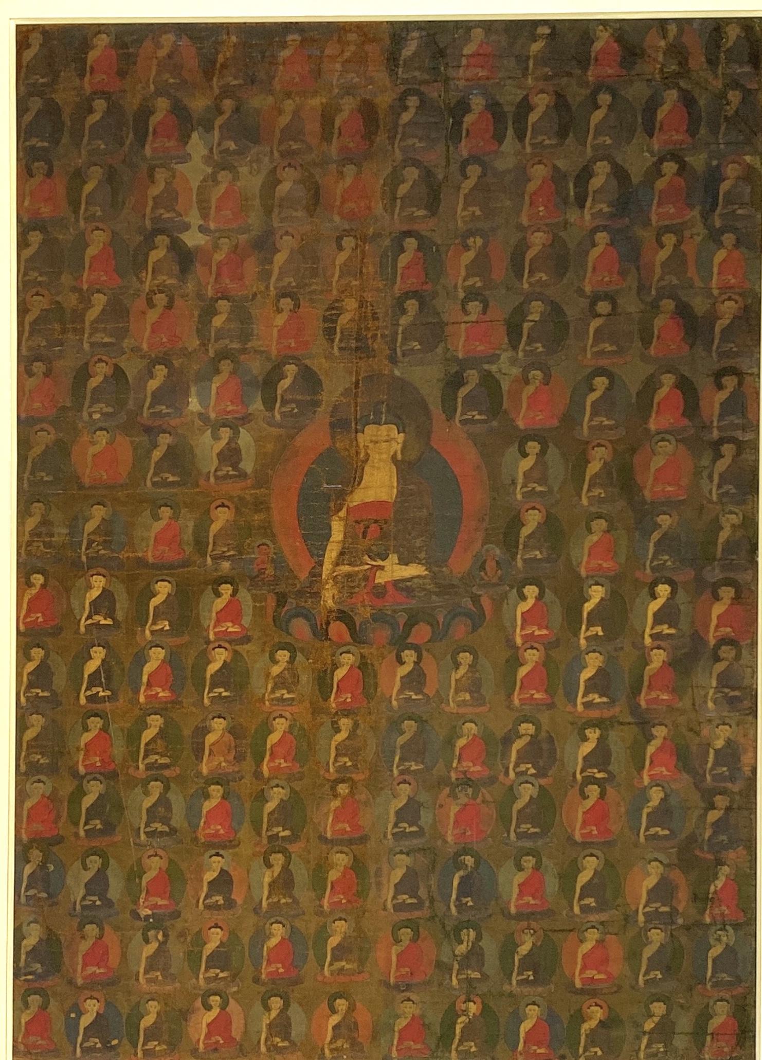 20596西蔵十八世紀 釋迦牟尼 唐卡 額74×54cm