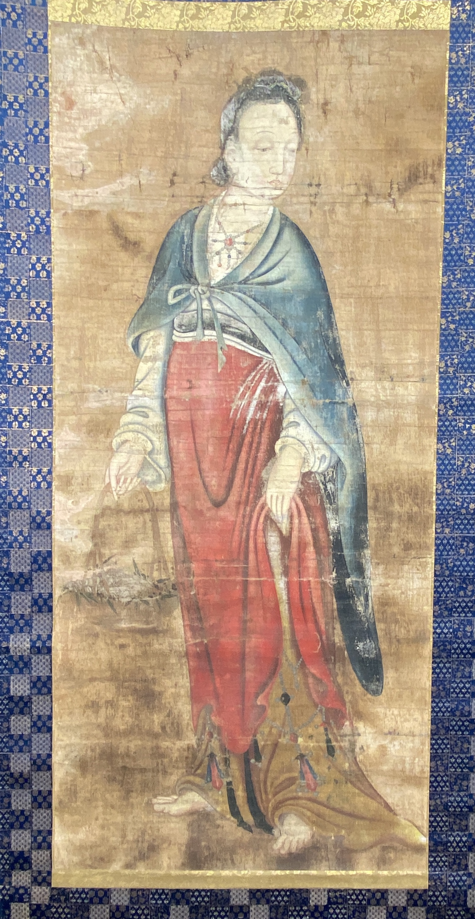 20599伝「呉道子」画 魚籃観音図 軸110×50cm