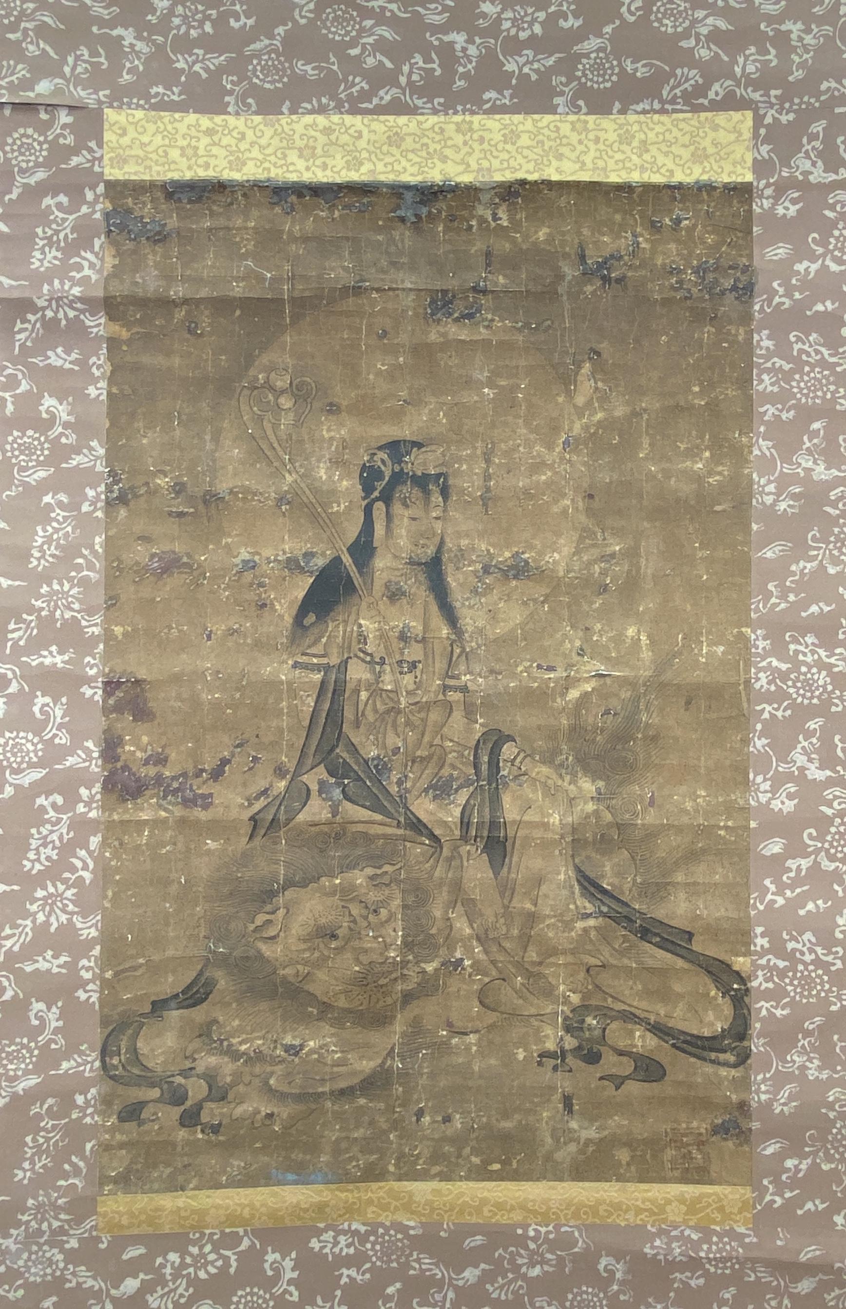 20604古画 文殊菩薩図 軸53×34cm