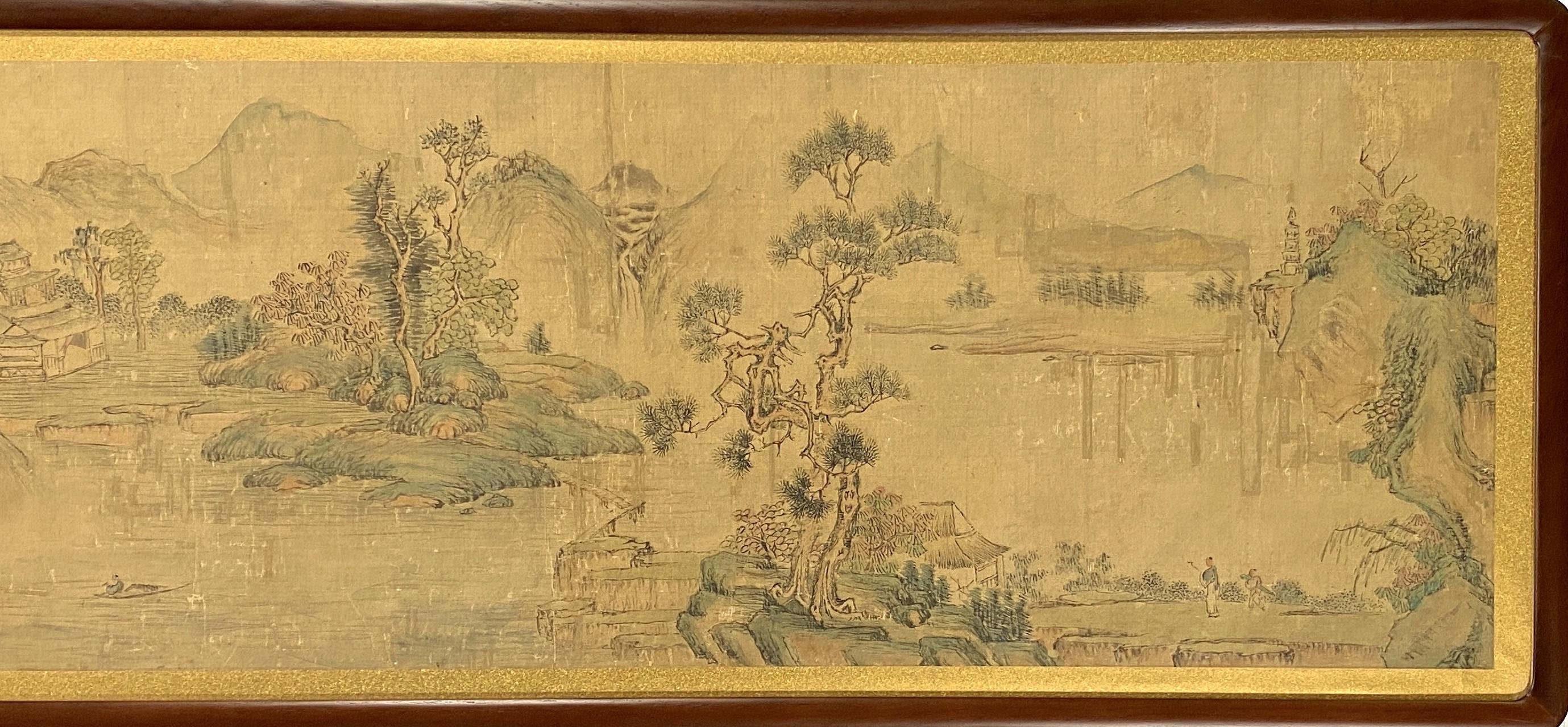 20628「程嘉◆」画 山水図 横額32×191cm