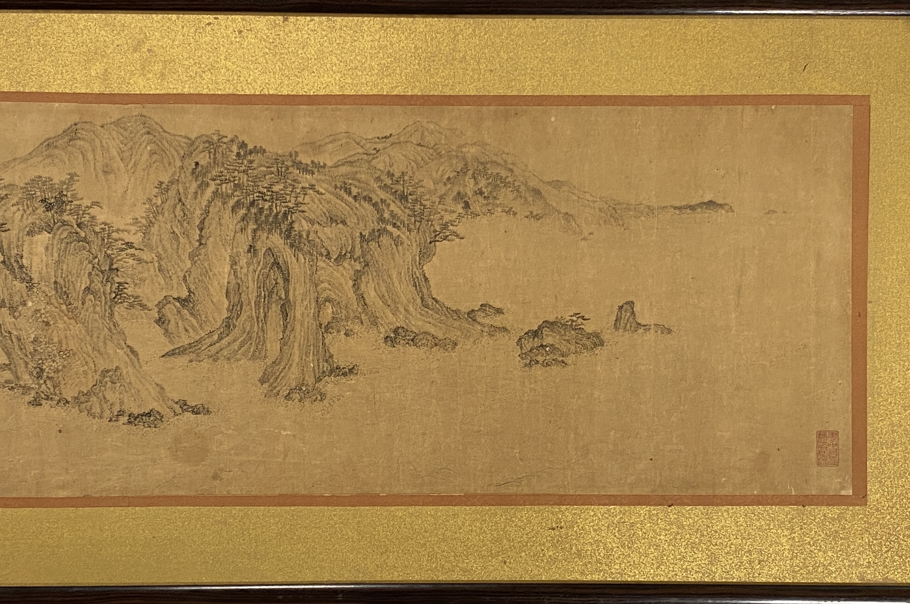 20629在銘 古画 山水図 横額34×130cm