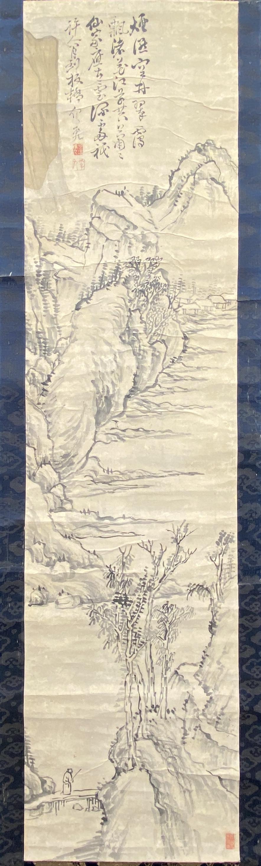 20642「板橋」款 山水図 軸116×29.5cm