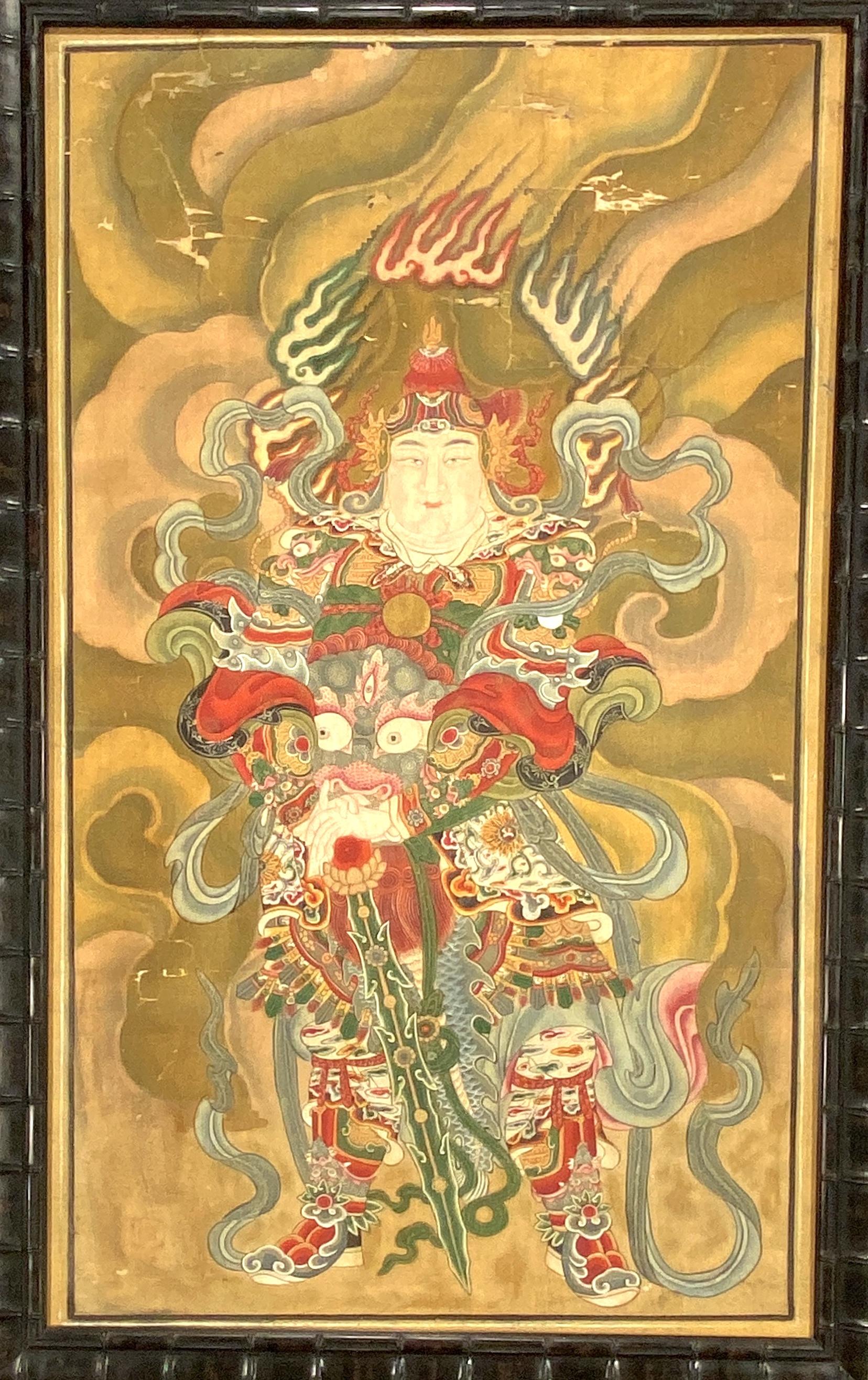 20668古画 青龍護法立像図 額117×66cm