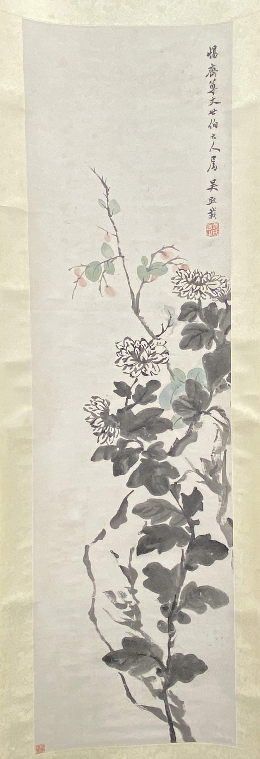 20682「呉煕載」画 花卉図 軸117×33.5cm