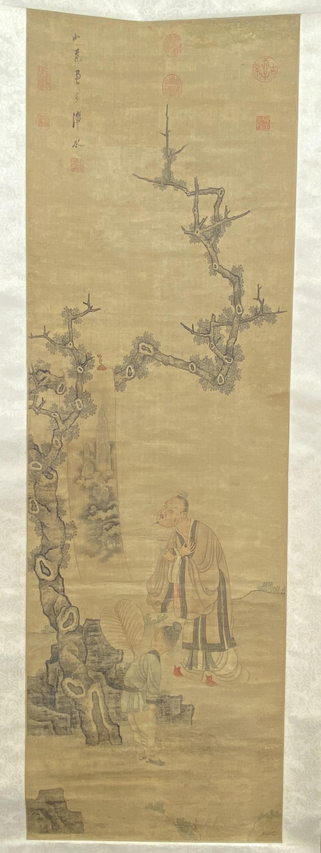 20686「陳小蓮」款 古画 人物図 軸148×47.5cm