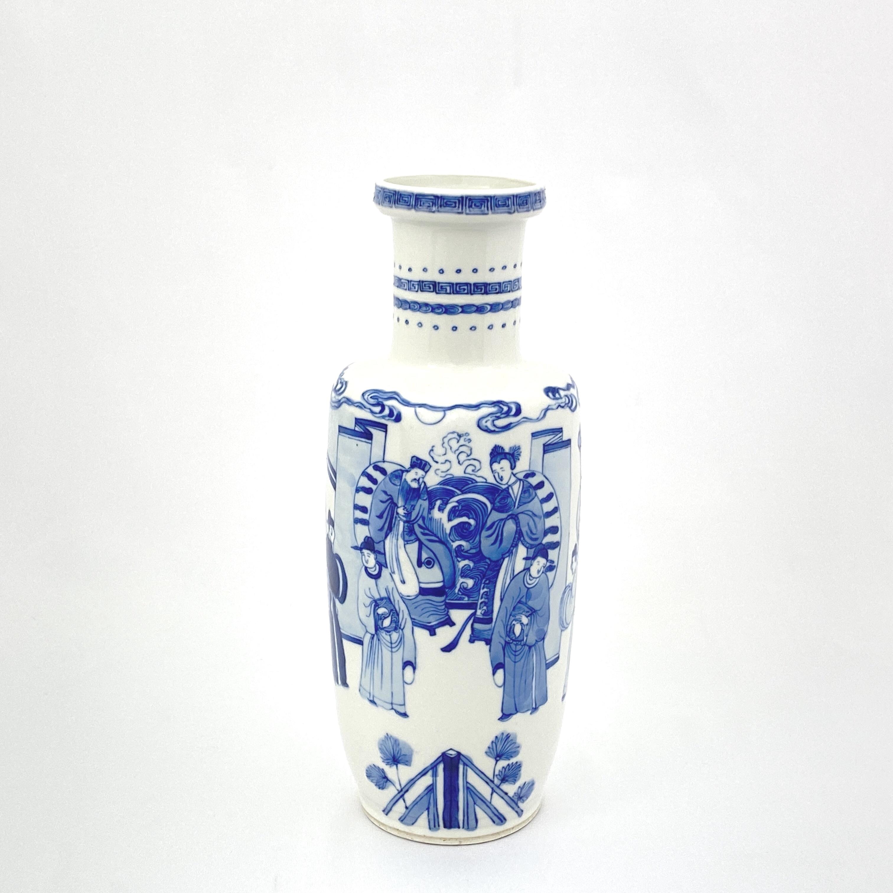 20007清 青花 人物図 棒槌瓶