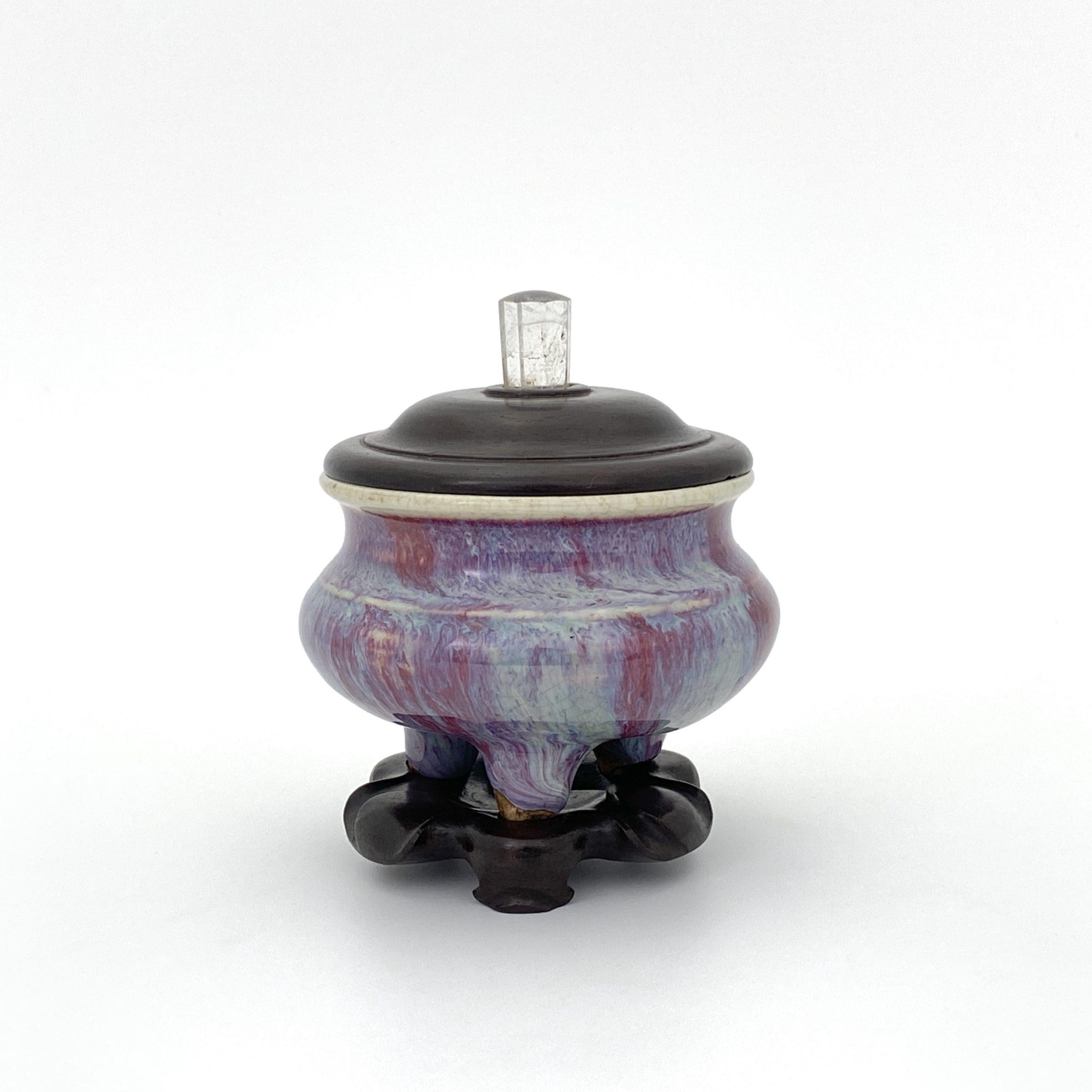 30109清 窯変釉 鬲式 爐