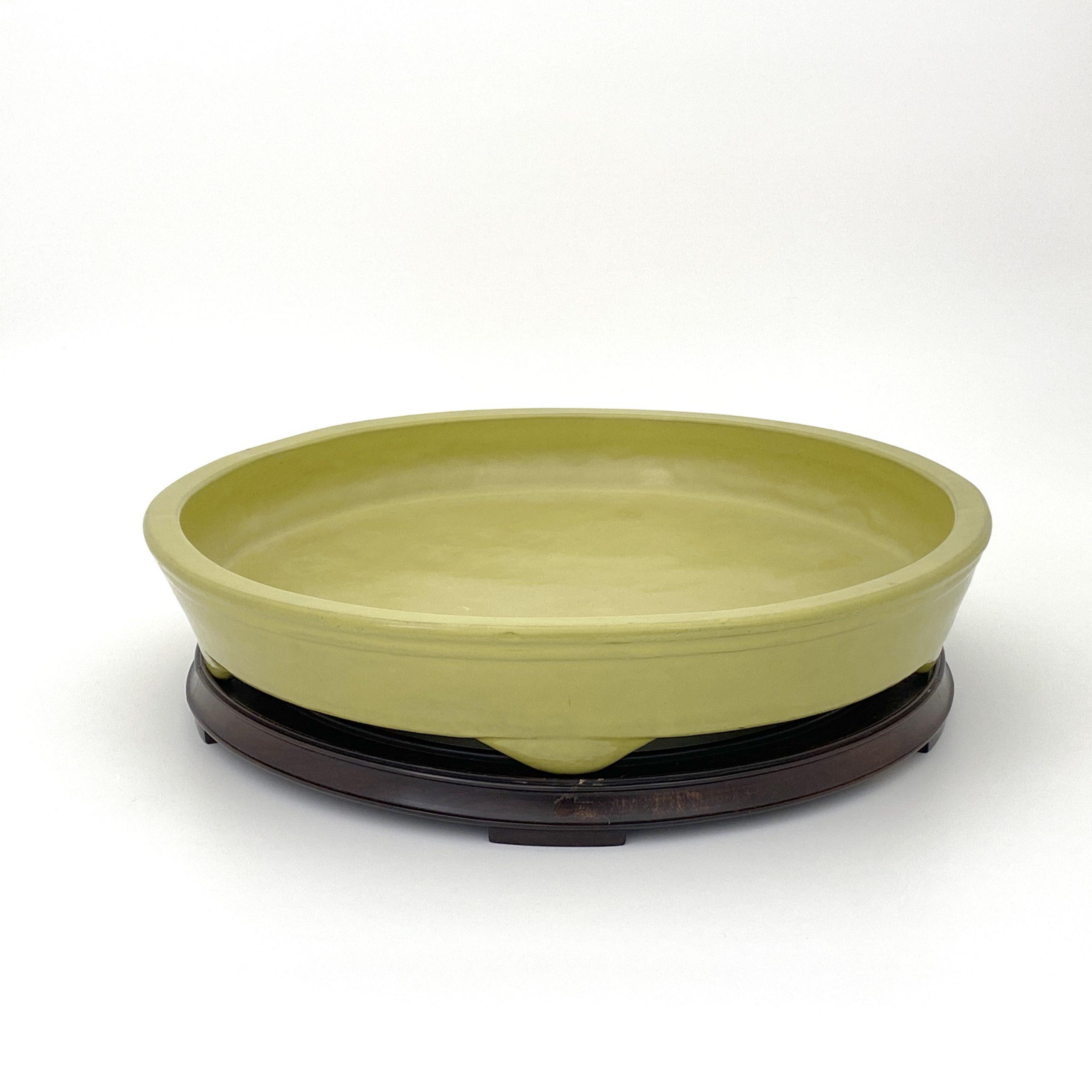 30122清 宜興 黄釉 五足水盤