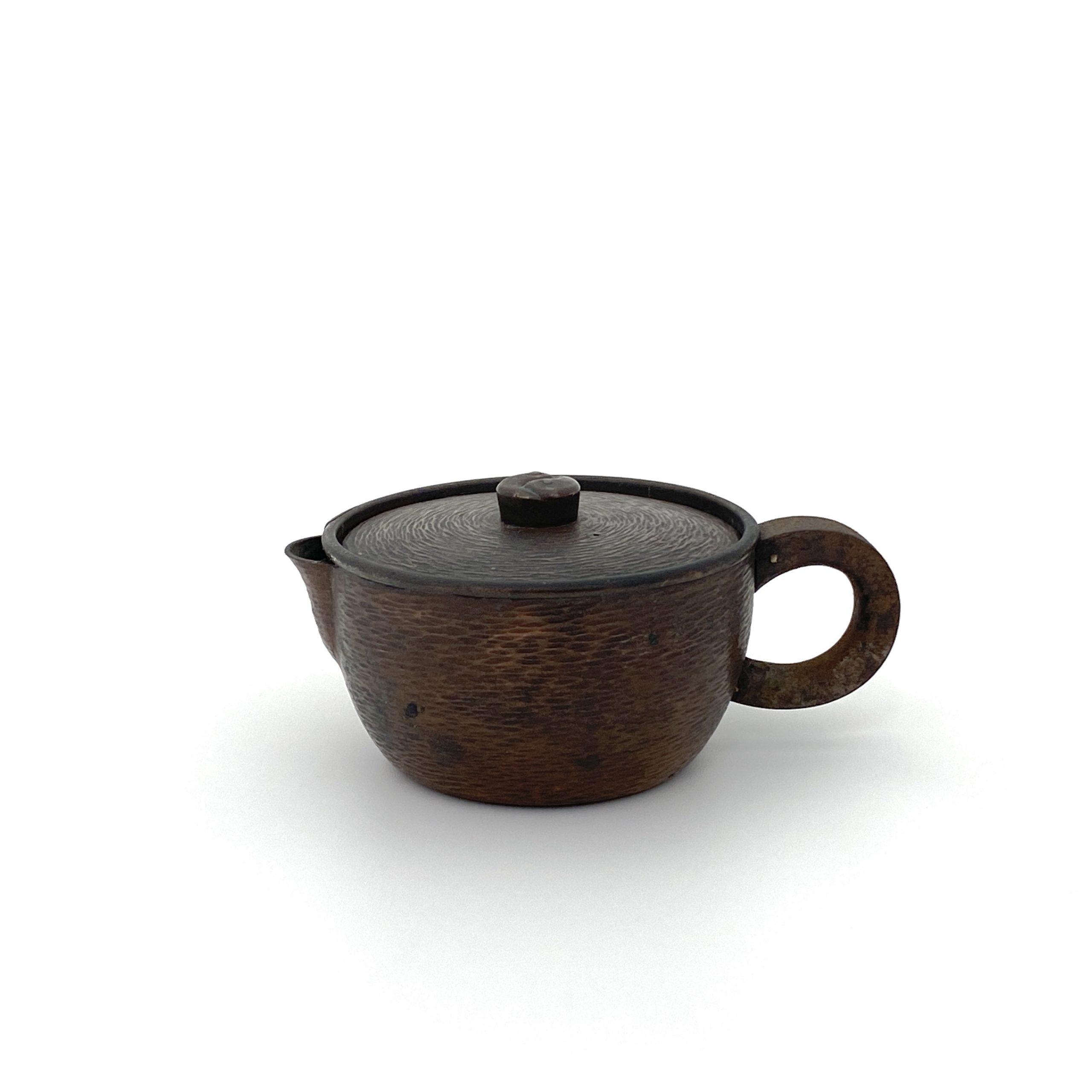 30125「五郎三郎」造 銅鎚目 鉄手茶壺