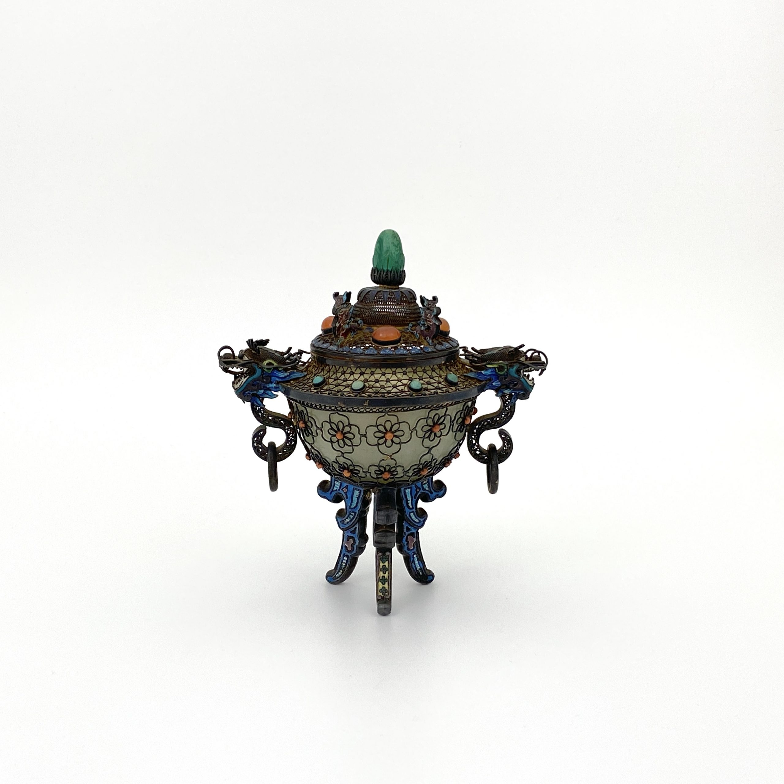 30013十九世紀 玉包銀絲局部琺瑯嵌百寶 龍耳爐