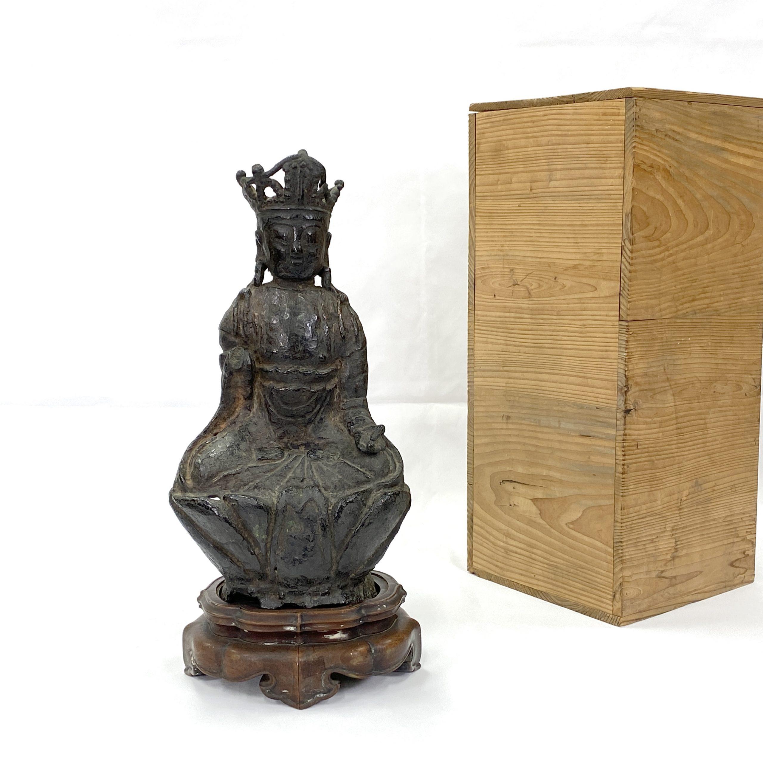 30140明 銅鎏彩 観音坐像