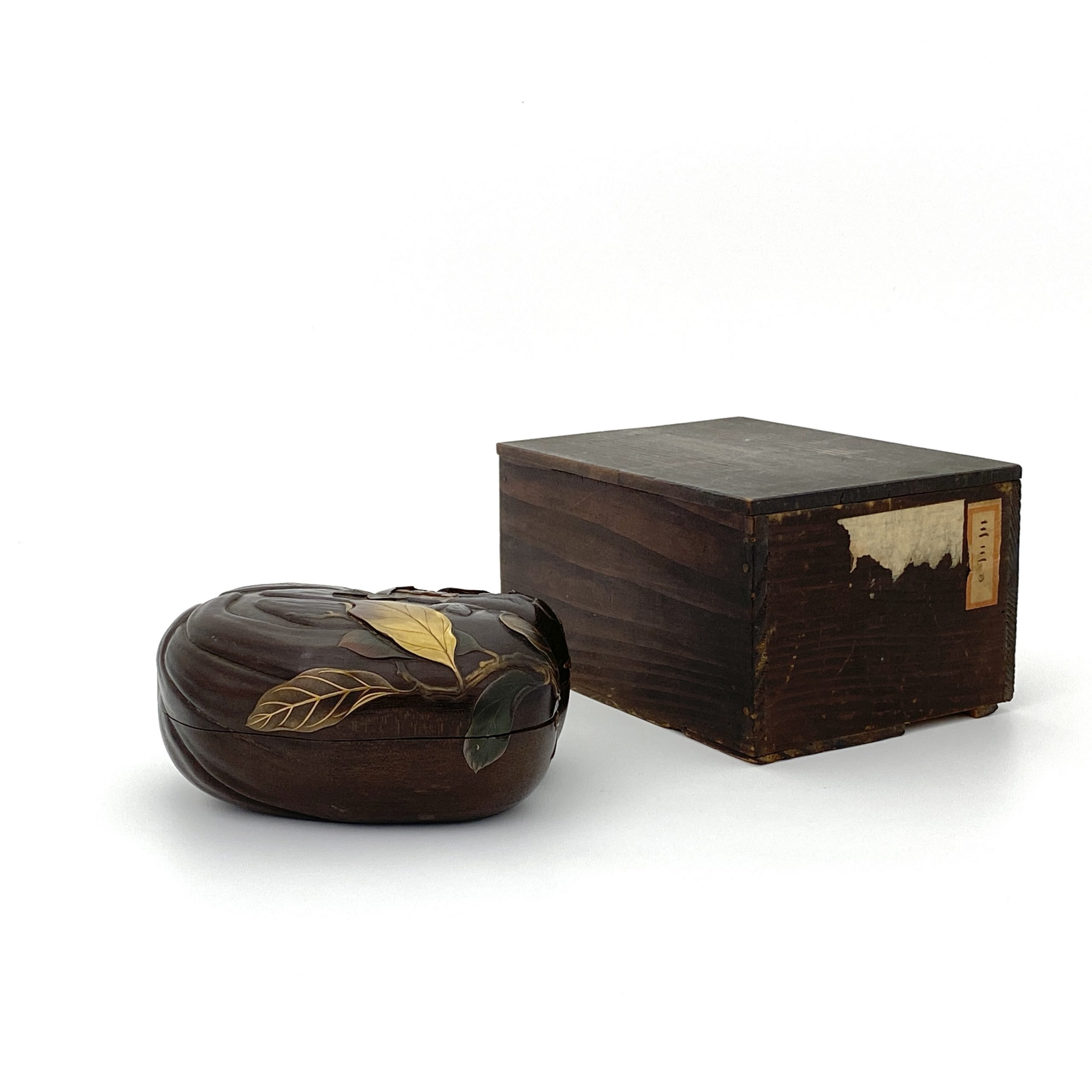30206木雕漆彩 荔枝紋 蓋盒
