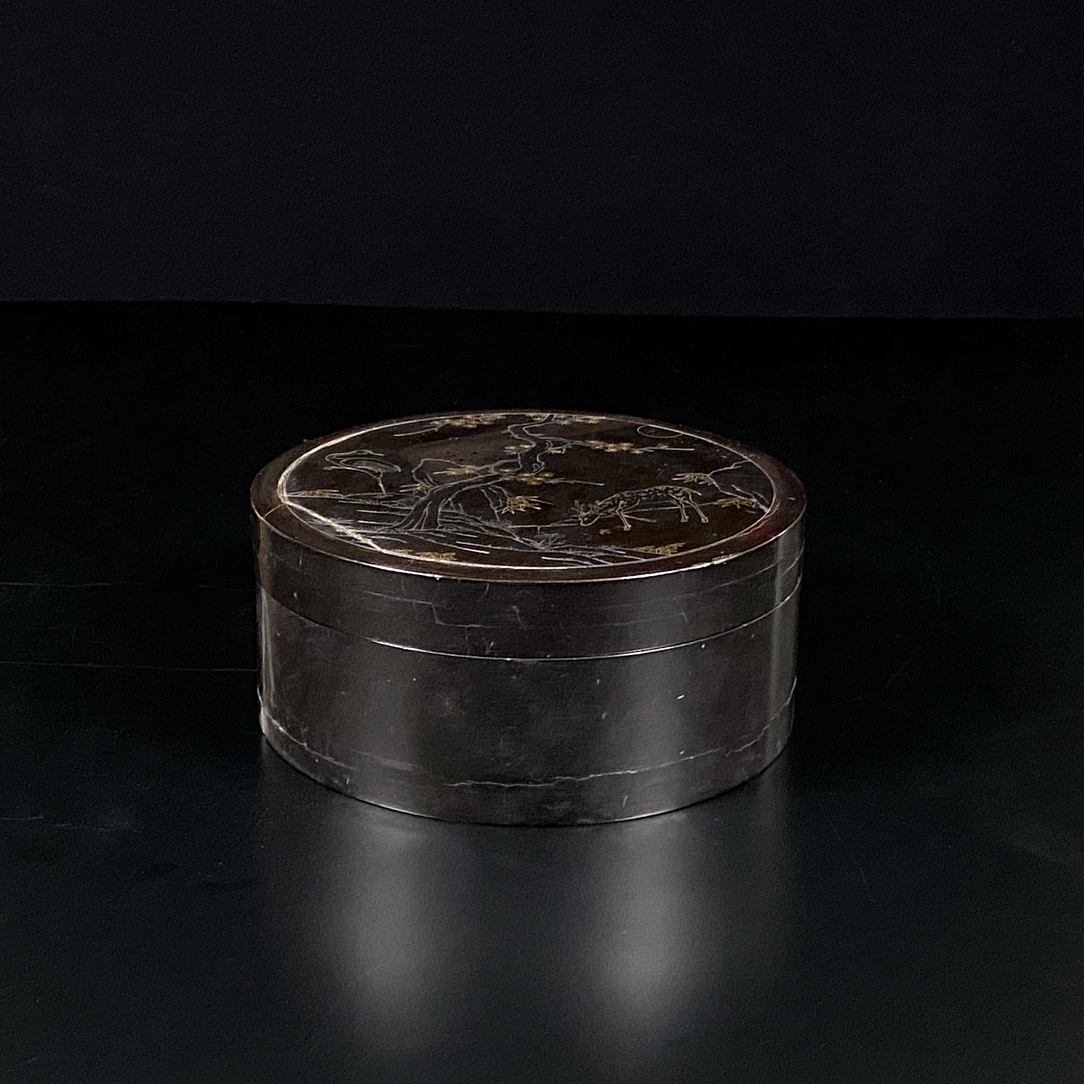30212木雕 黒漆錯金銀 吉祥紋 蓋盒