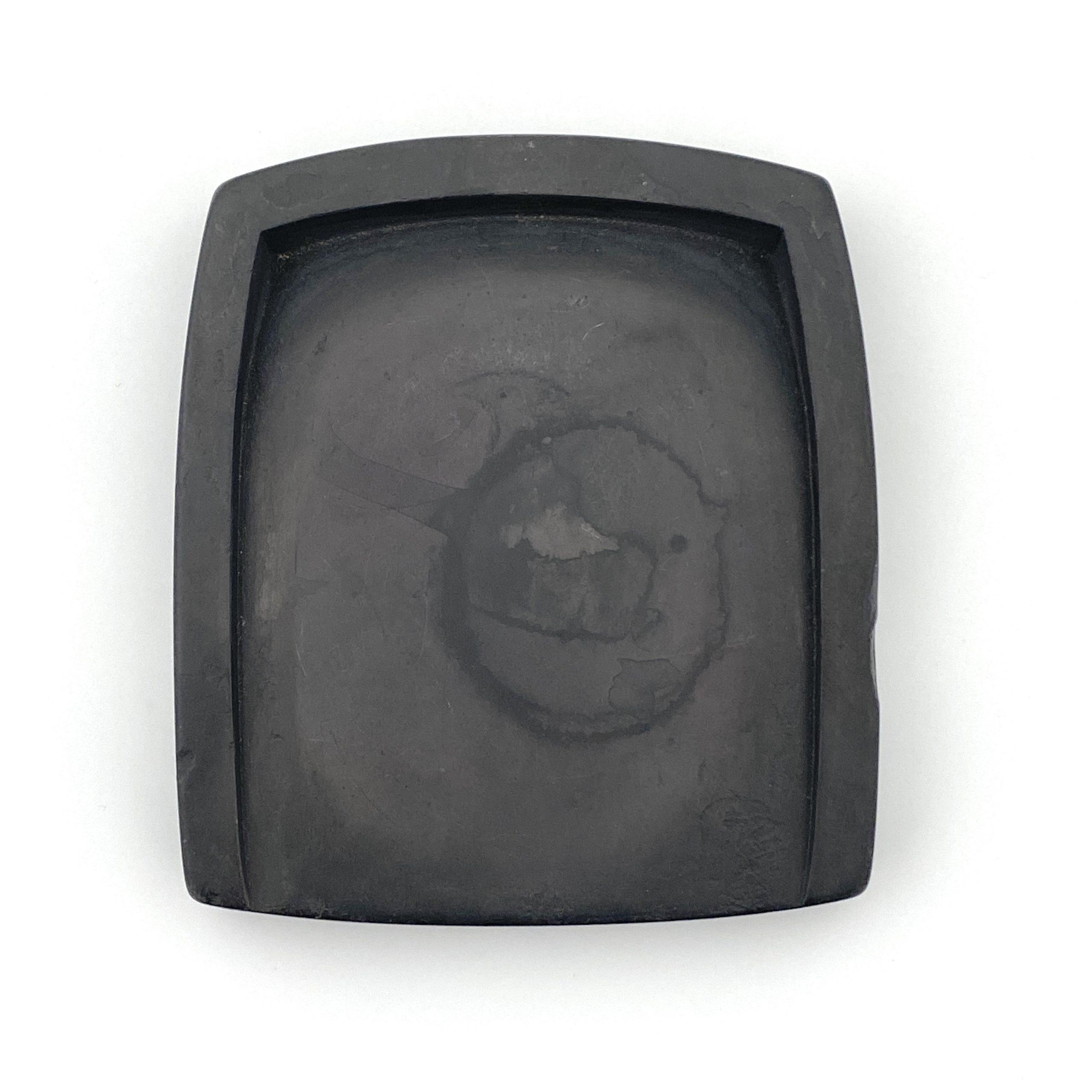 30460「呂留良」款 端渓 詩文紋 團硯