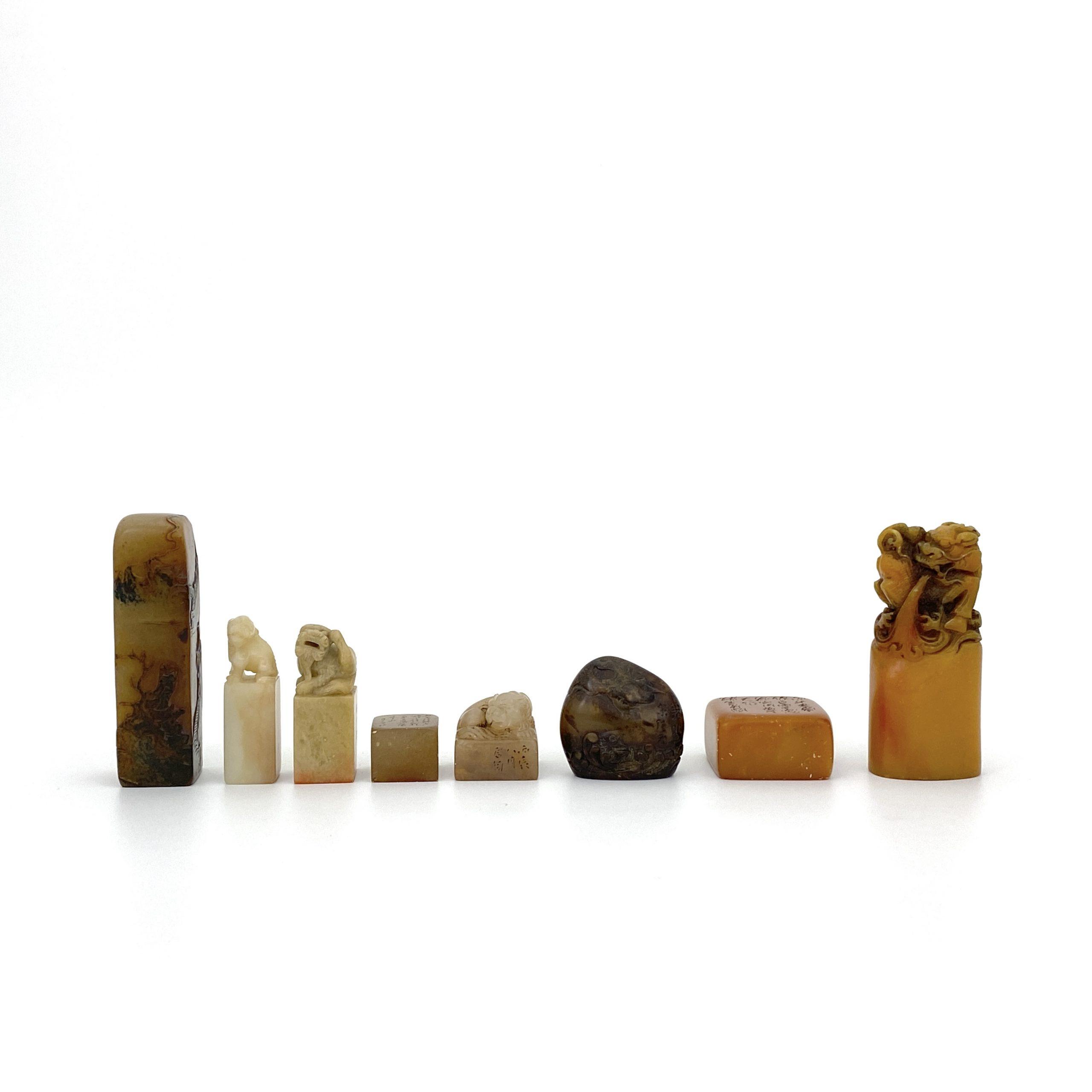 30464在銘 壽山石雕 獅子鈕 印章等 計8件