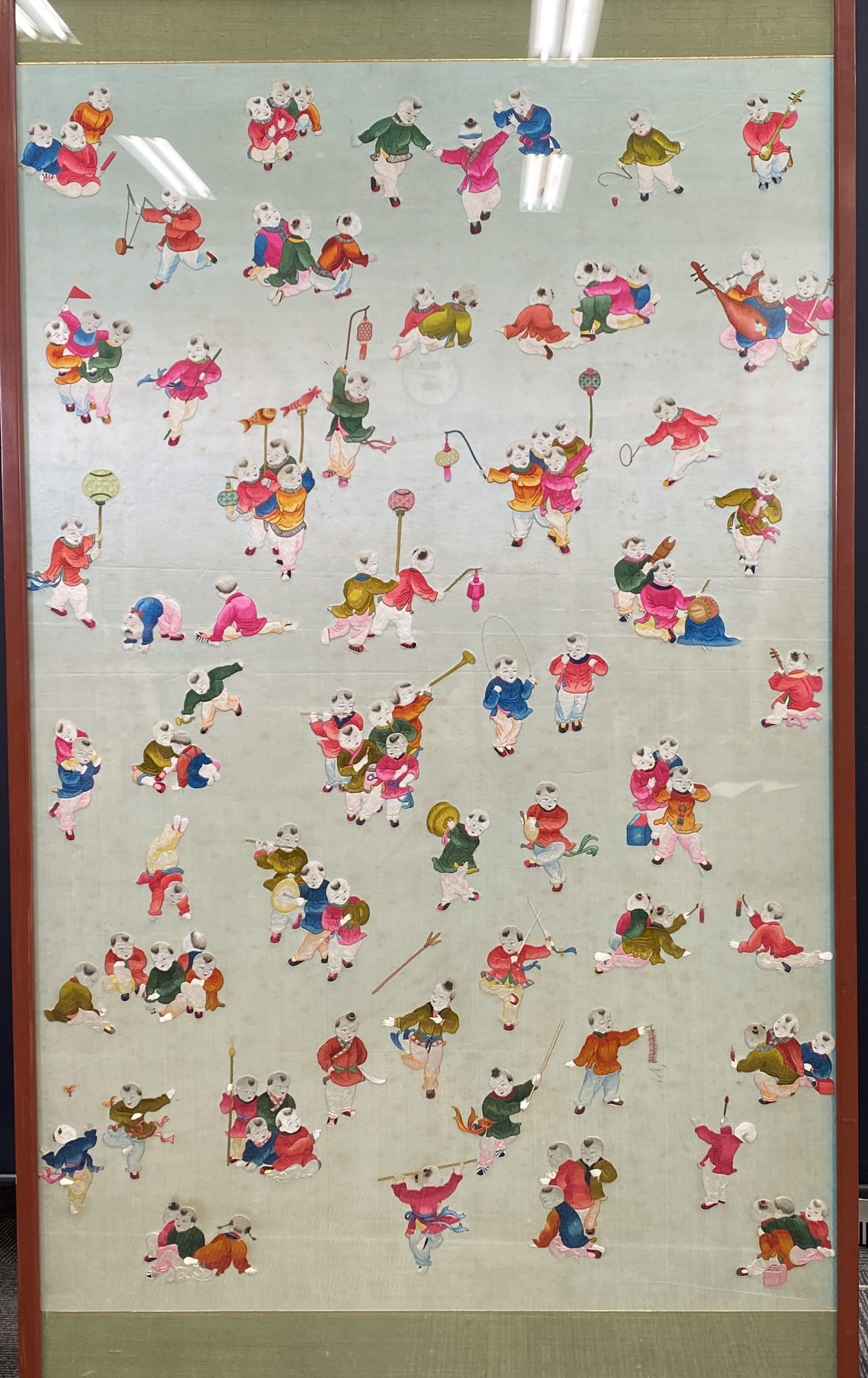 30480刺繍 童子紋 掛屏額