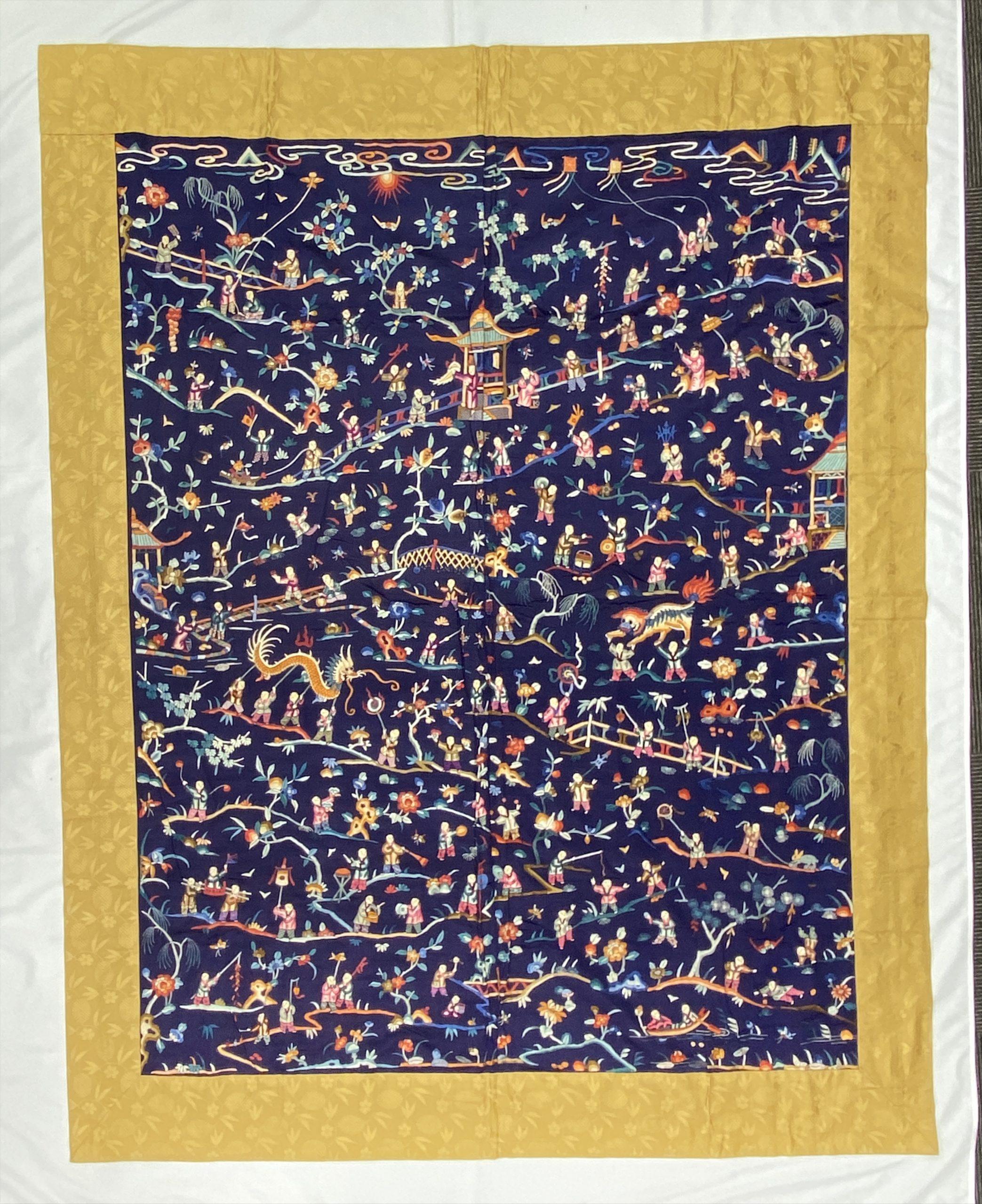 30481藍地刺繍 龍紋 掛屏