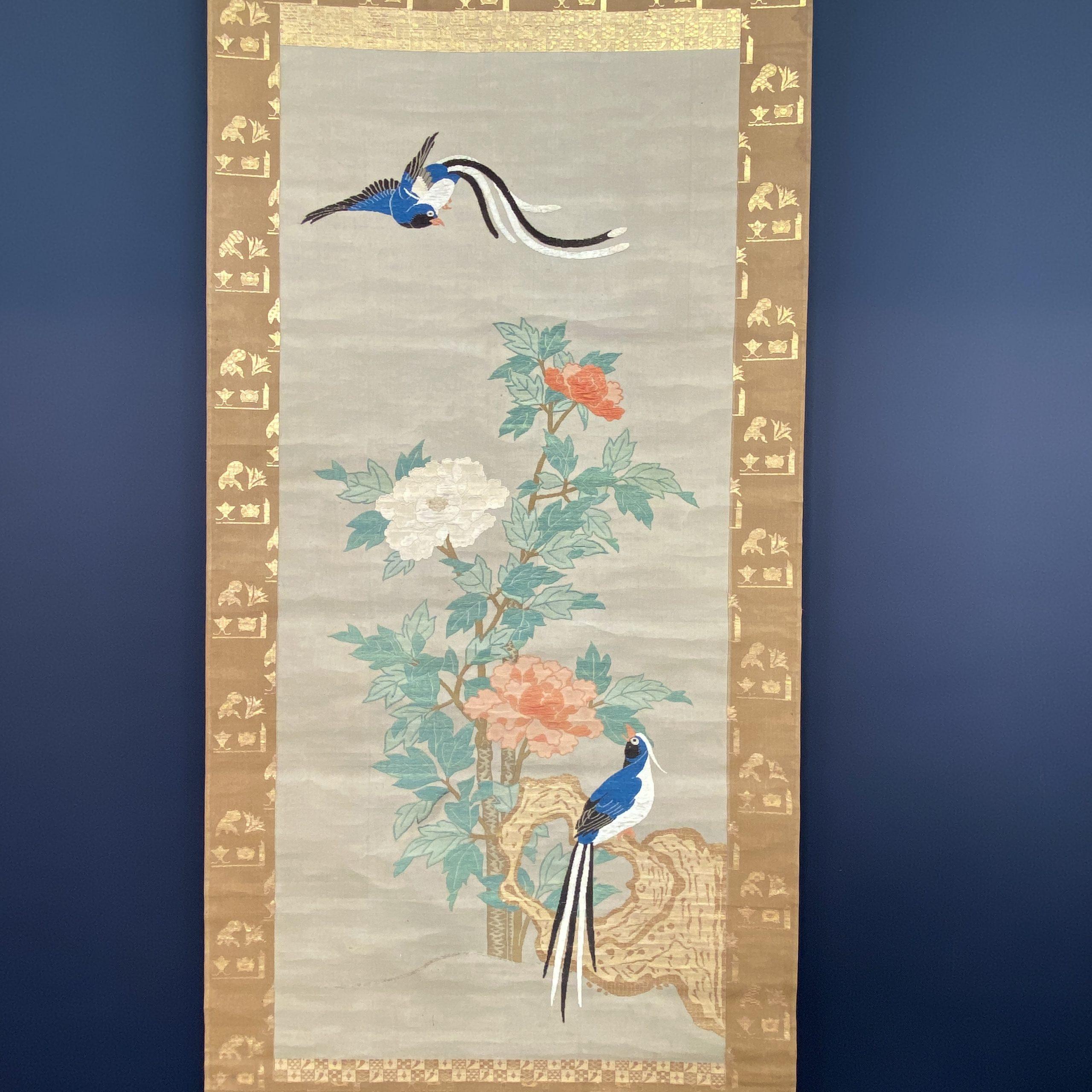 30483刺繍 花鳥紋 軸102×46cm