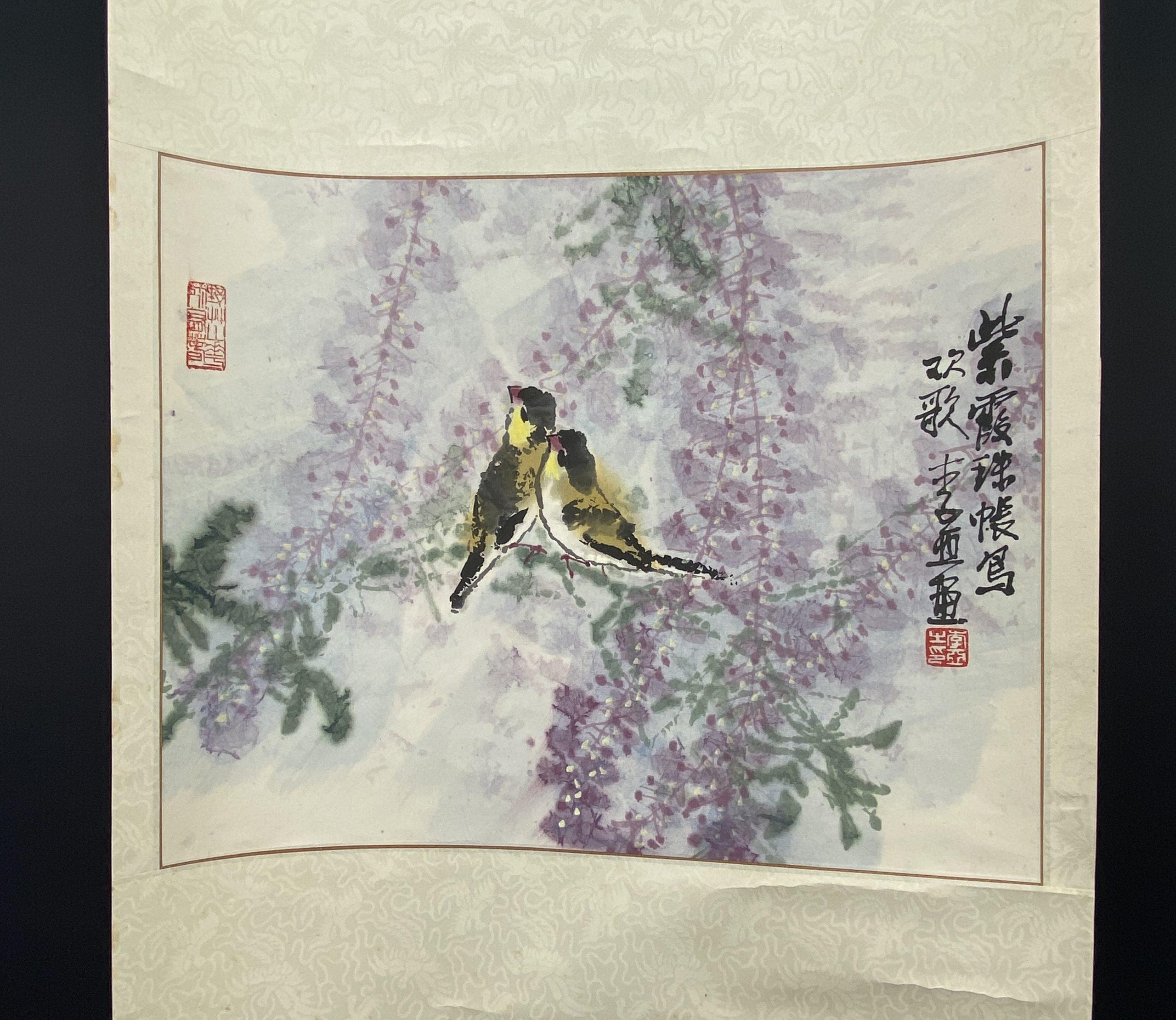 30608「李亜」画 花鳥図 軸41×50.5cm