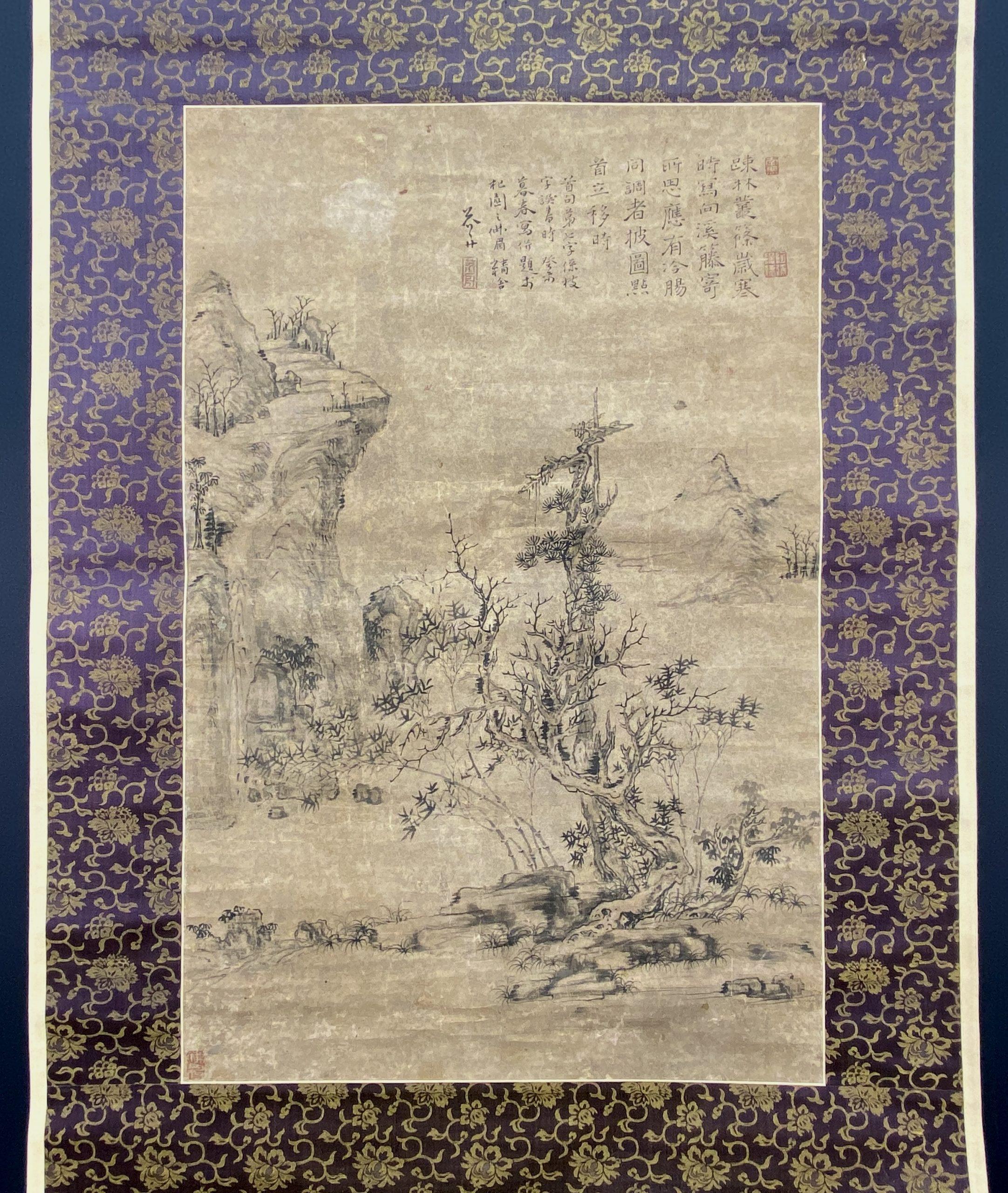 30628「沈竹舟」古画 山水図 軸54×35.5cm