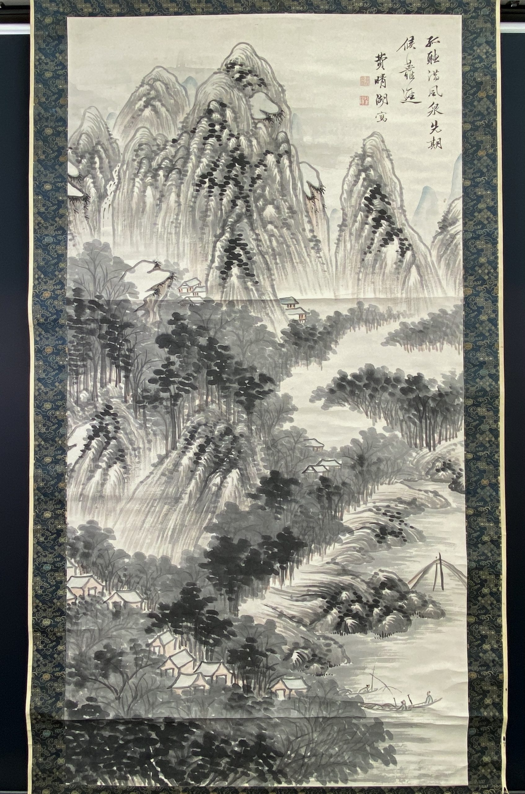 30630「費晴湖」画 山水図 軸173×91cm