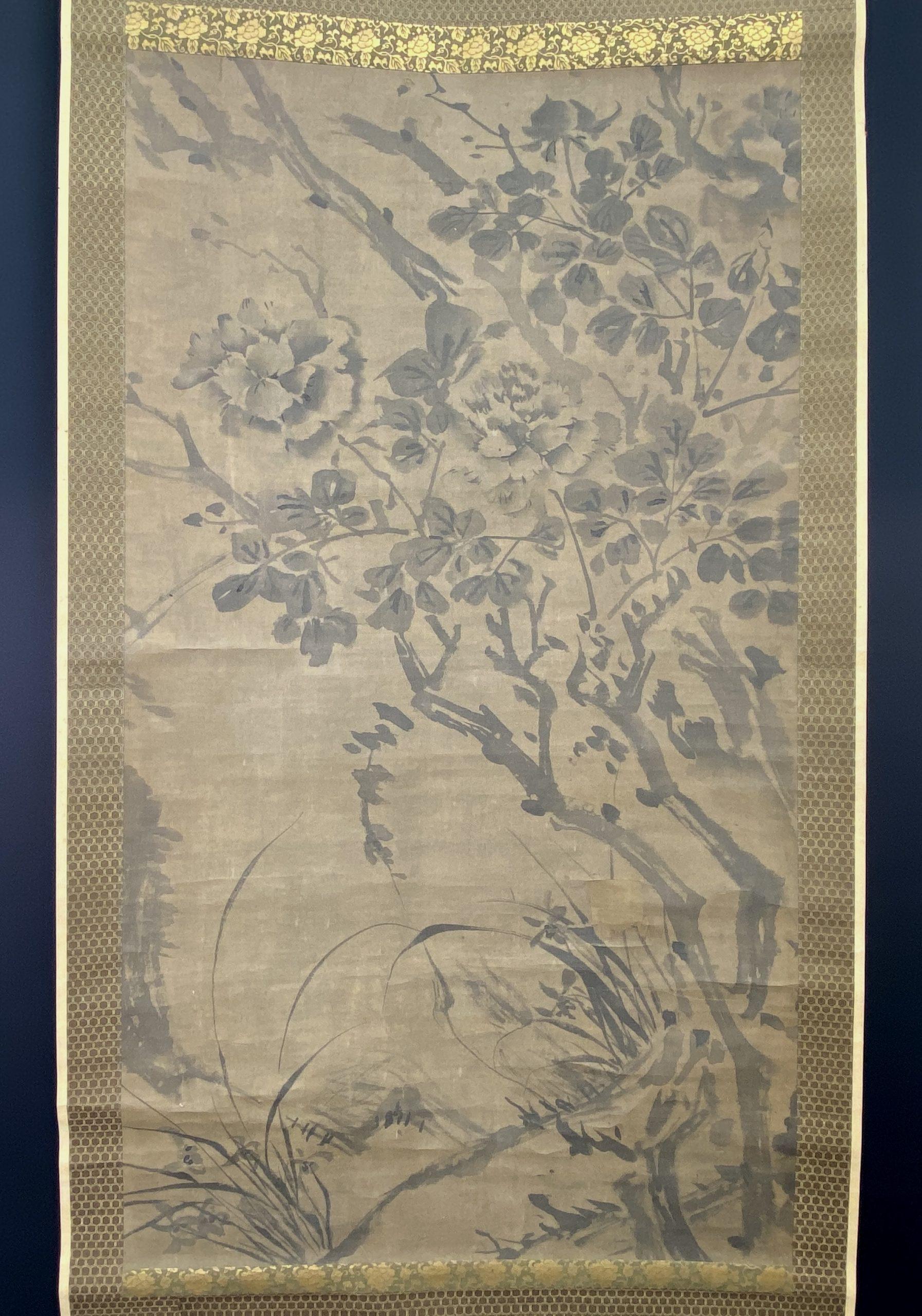 30635古画 花図 双幅120×66cm
