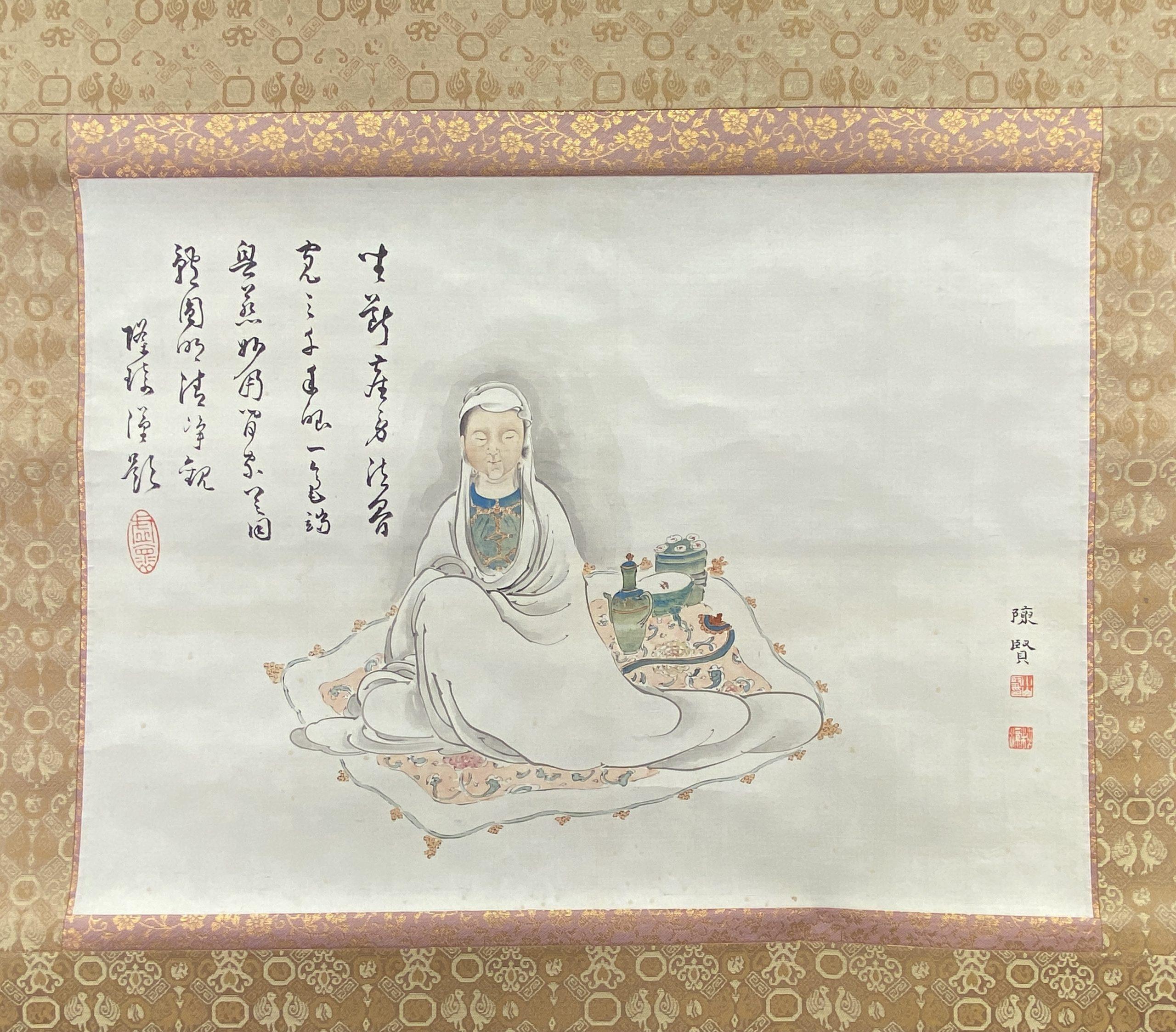 30642「沈賢」画 観音図 軸36×49cm