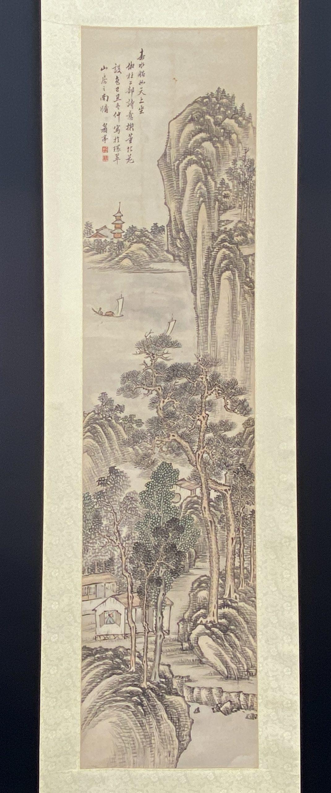 30643「沈仁業」画 山水舟人物図 軸131×31cm