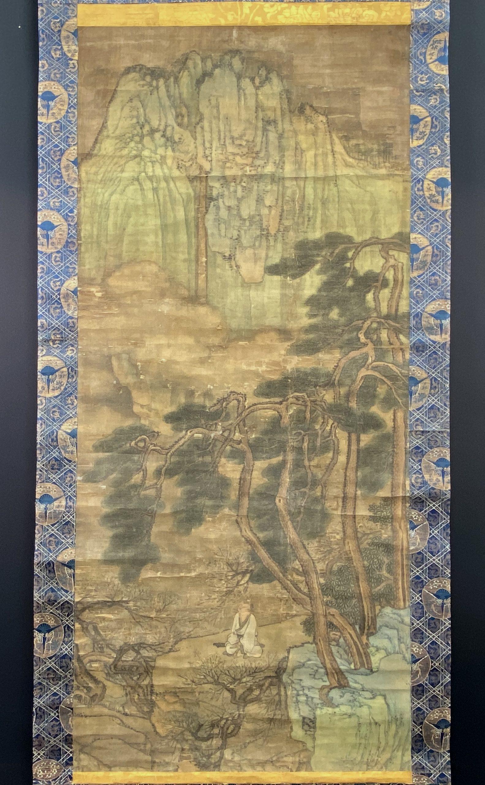 30645古画 山水人物図 軸127×58cm