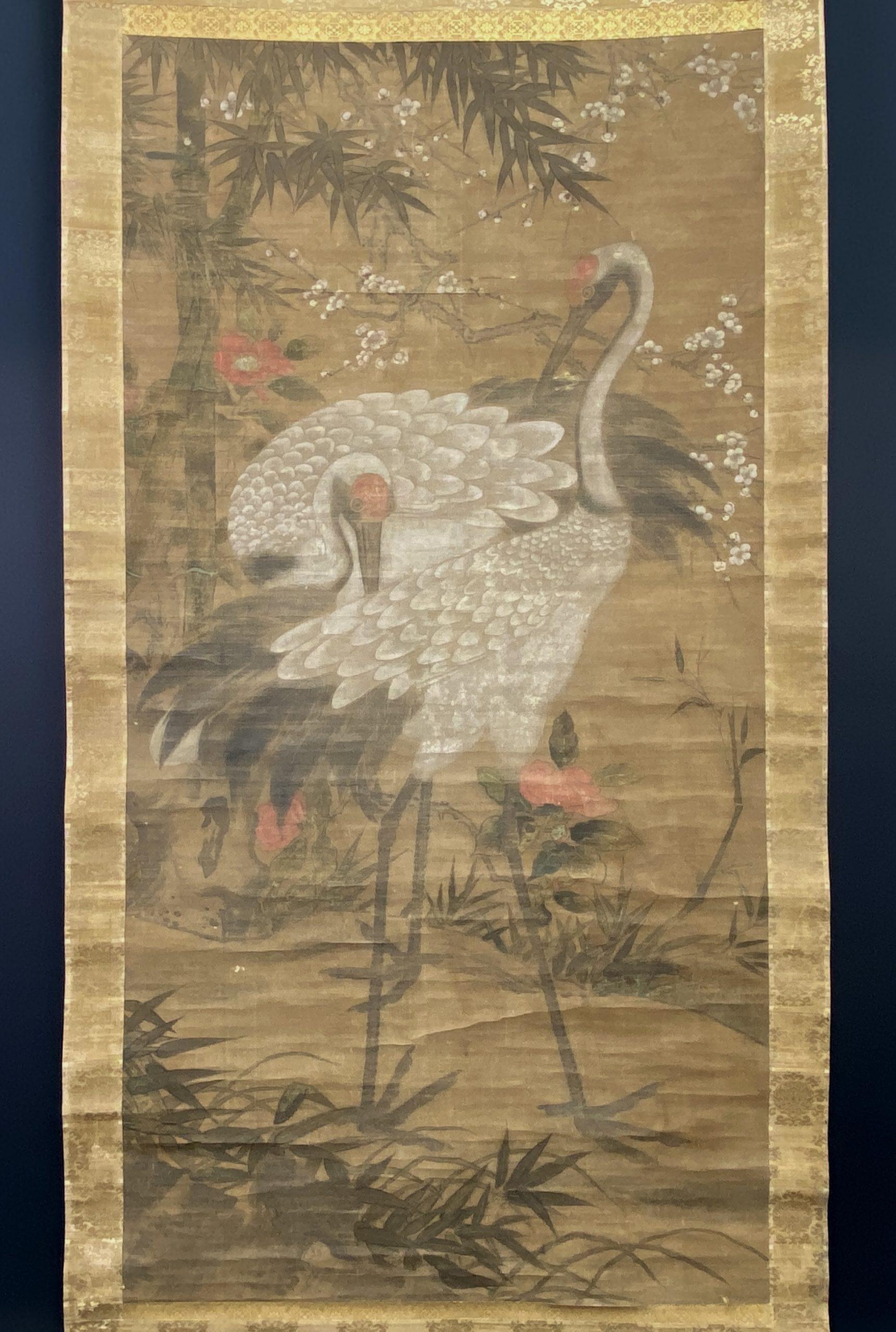 30646古画 鶴図 軸138×70cm