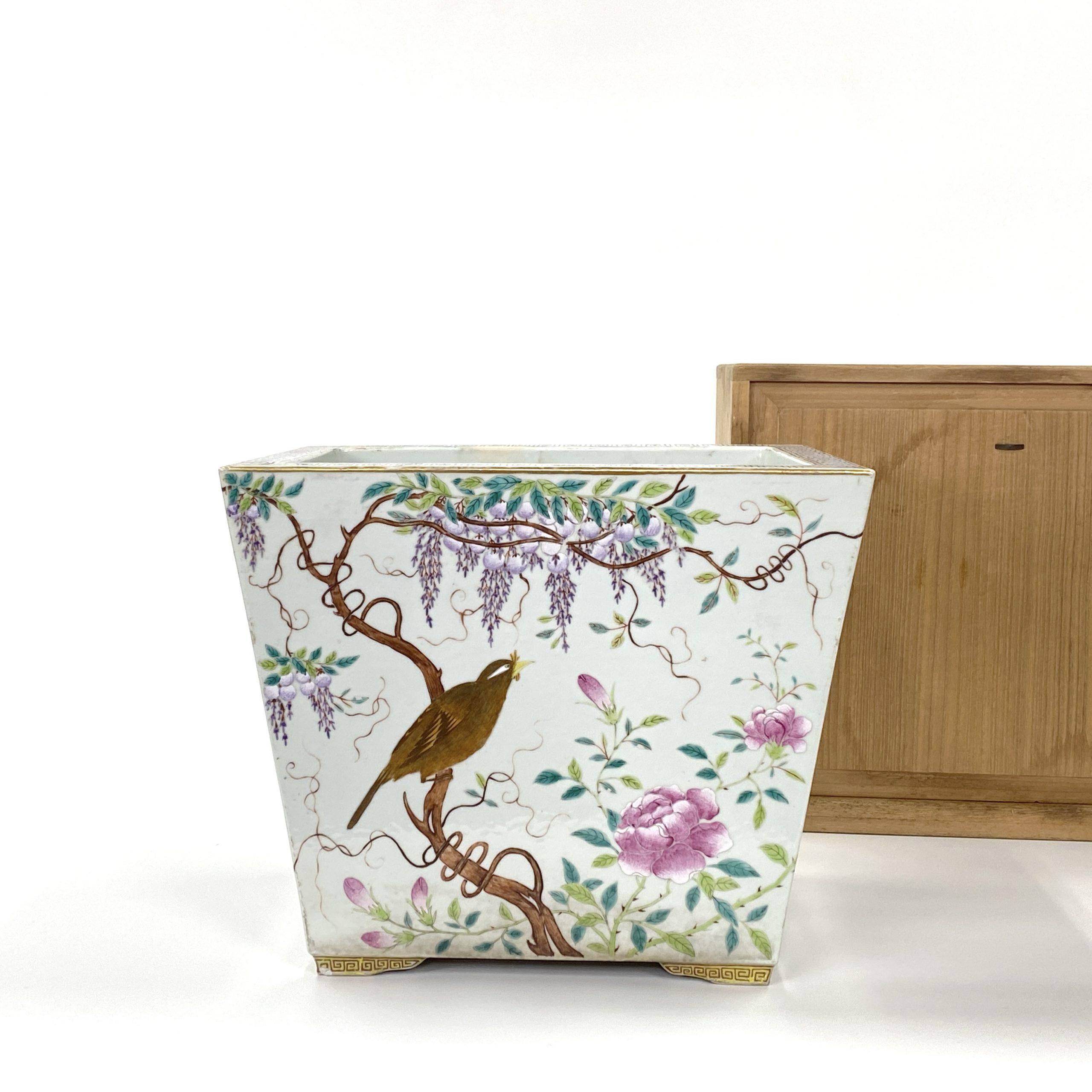 20001十九世紀 粉彩 花鳥紋 蘭鉢
