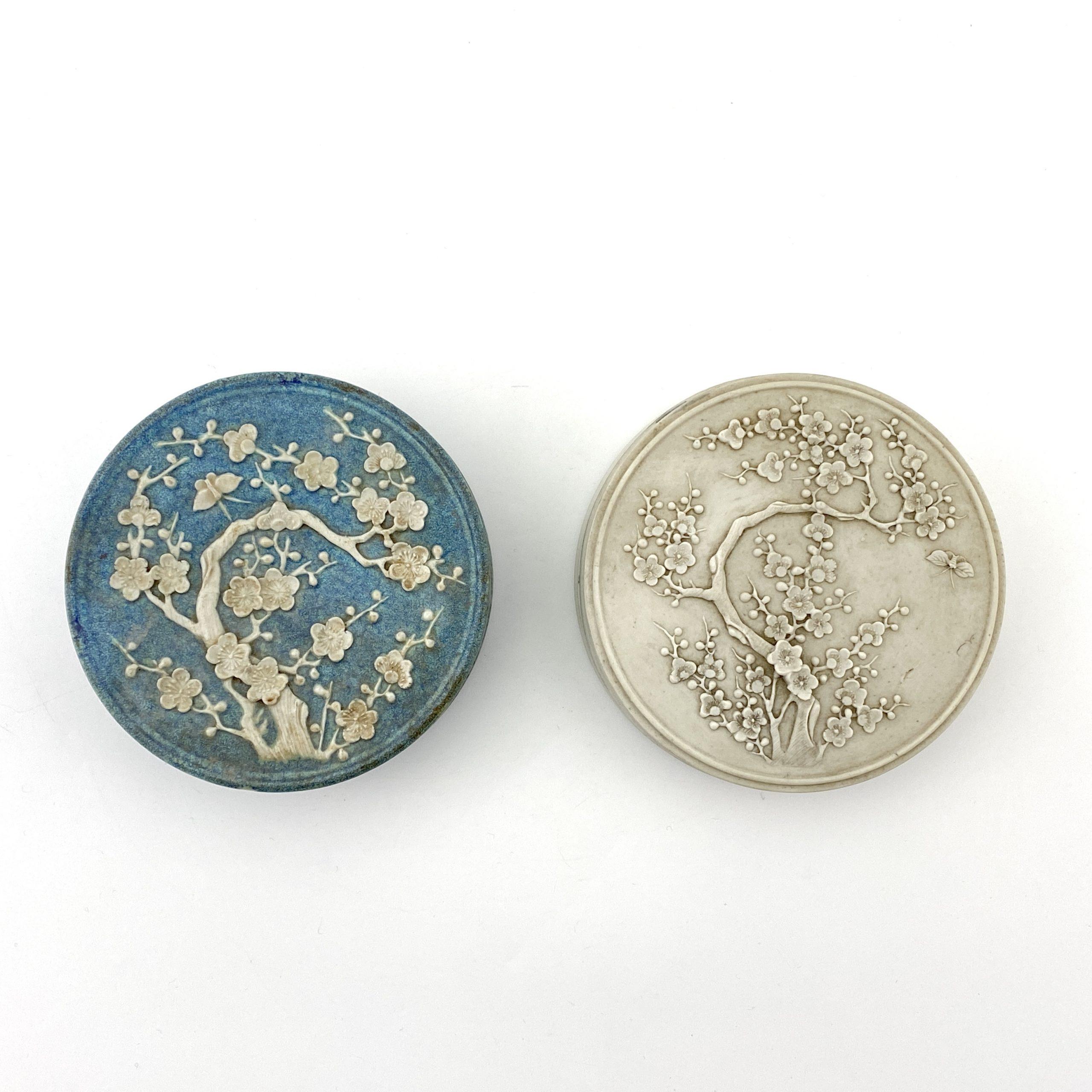 20108清 爐鈞釉 梅花紋 陶硯等 計2件