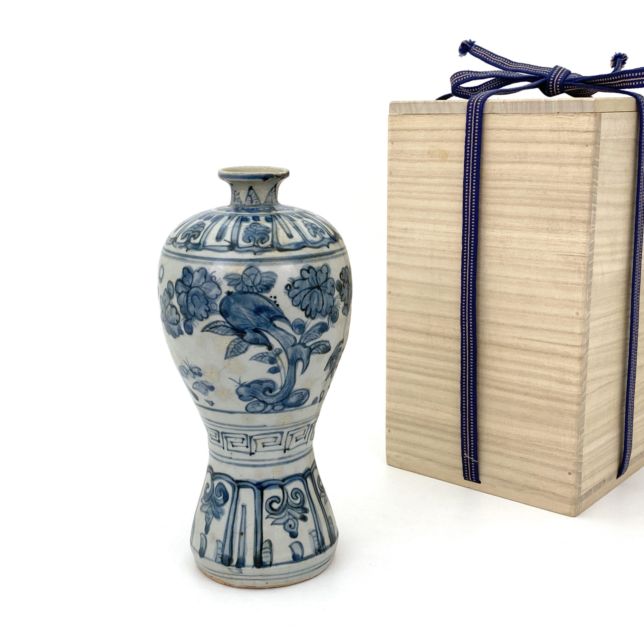 20127明初 青花 花図 梅瓶