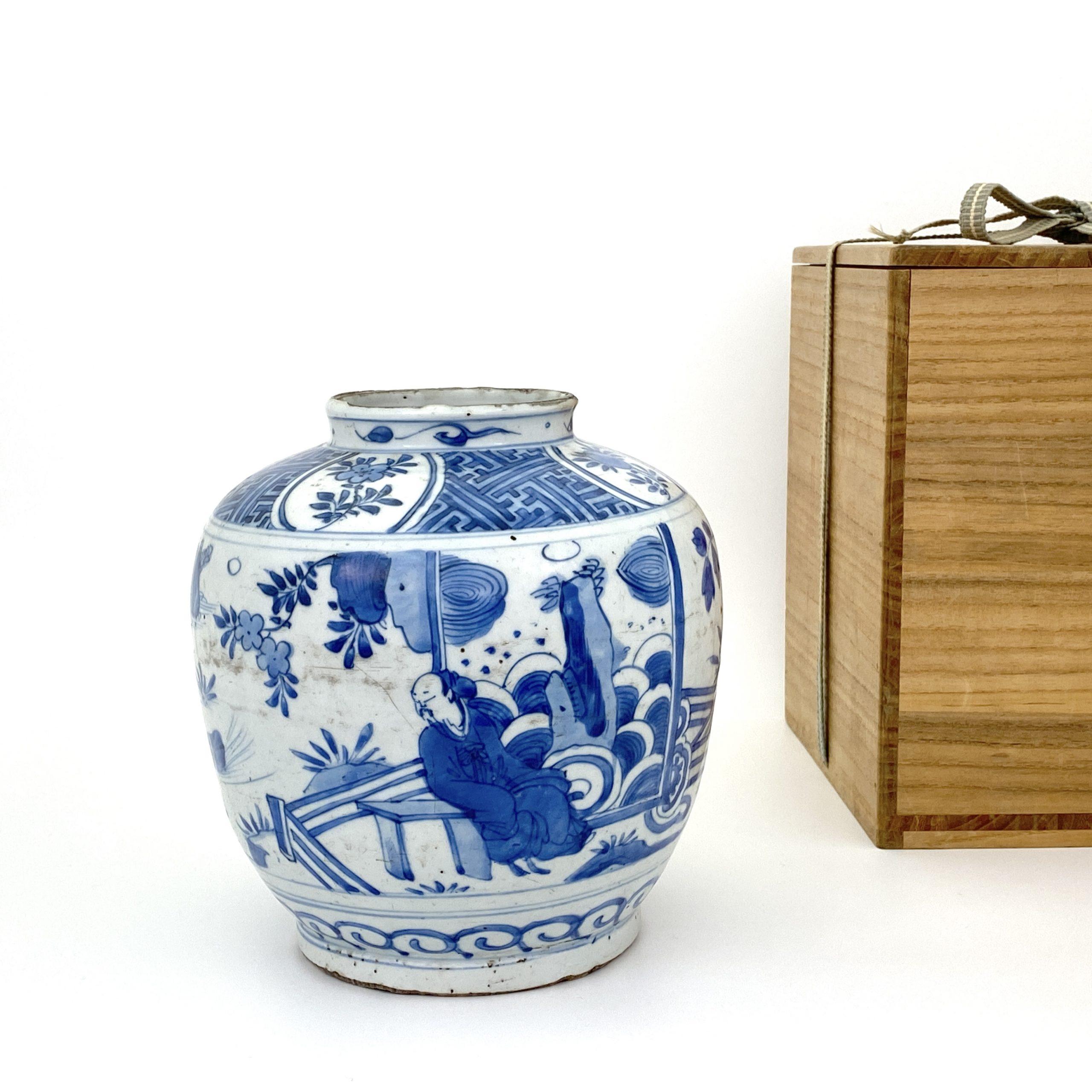 20138明末清初 青花 山水人物図 瓶