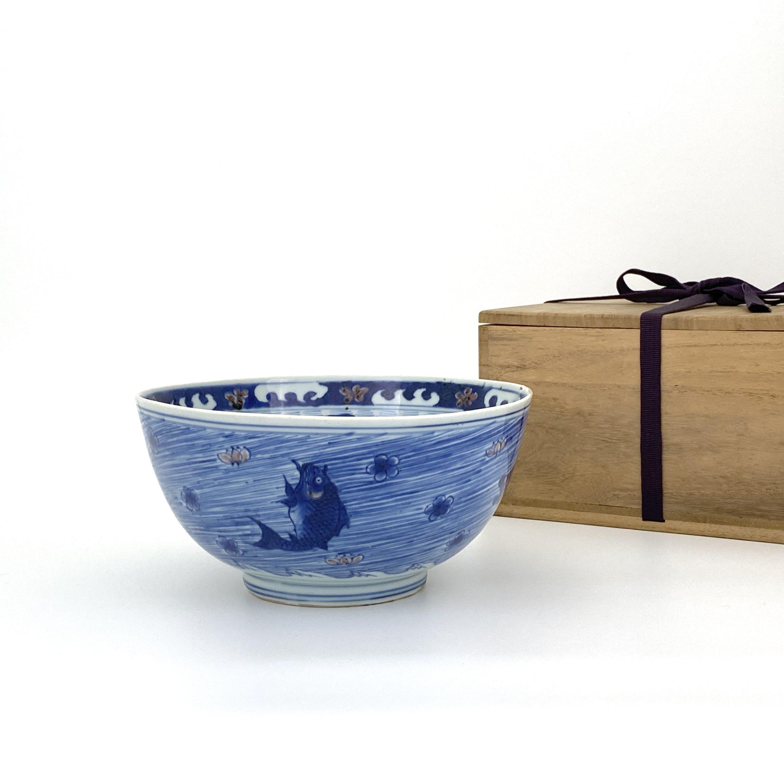 20146清康煕「大清康煕年製」款 青花釉裏紅 魚図 碗