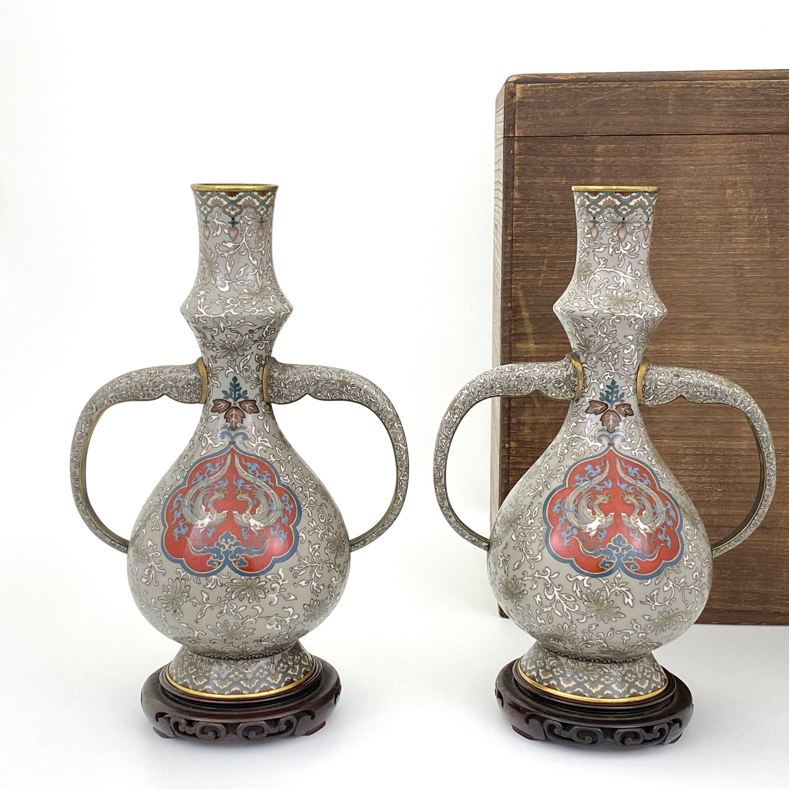 20019「安藤七宝」鳳凰紋 雙耳瓶 一対