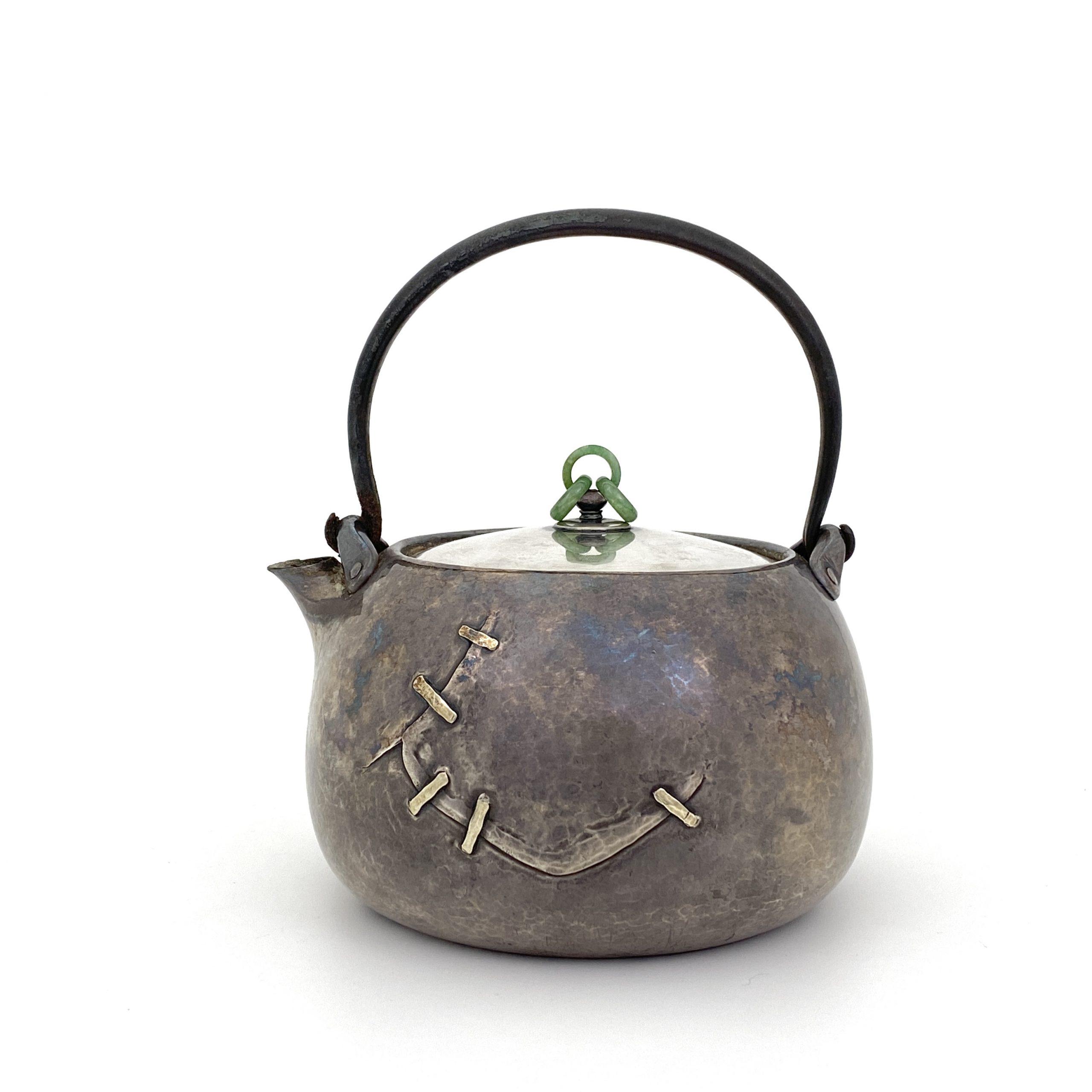 20020「北村静香」造 純銀一塊打出 鉄持手湯沸