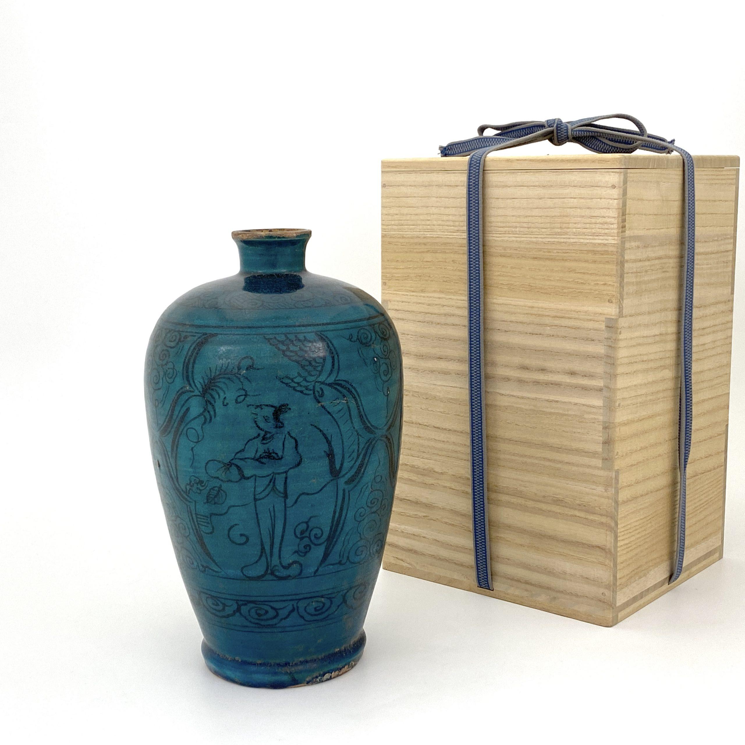 20036宋~金 孔雀釉 人物紋 梅瓶