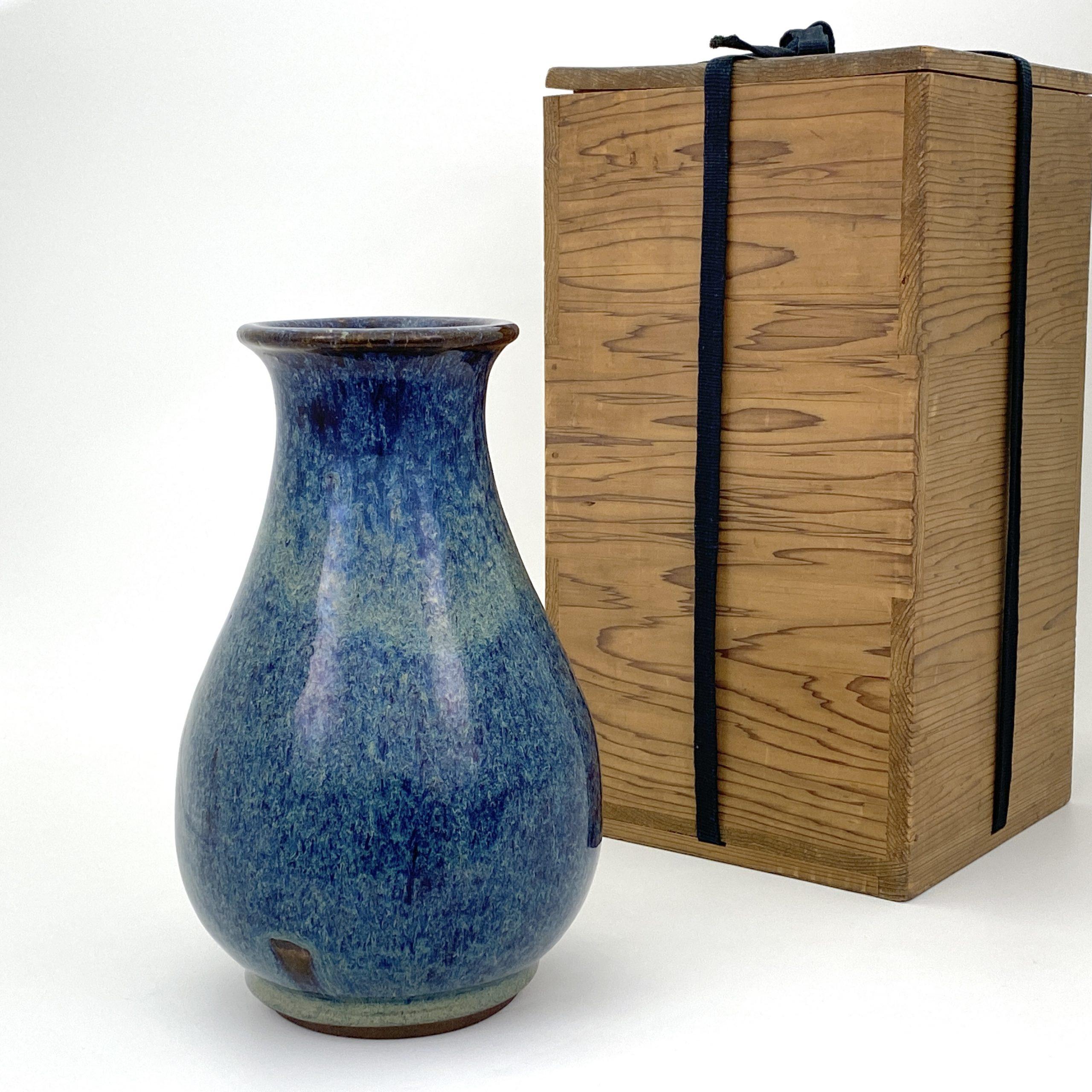 20076「葛明祥製」海鼠釉 瓶