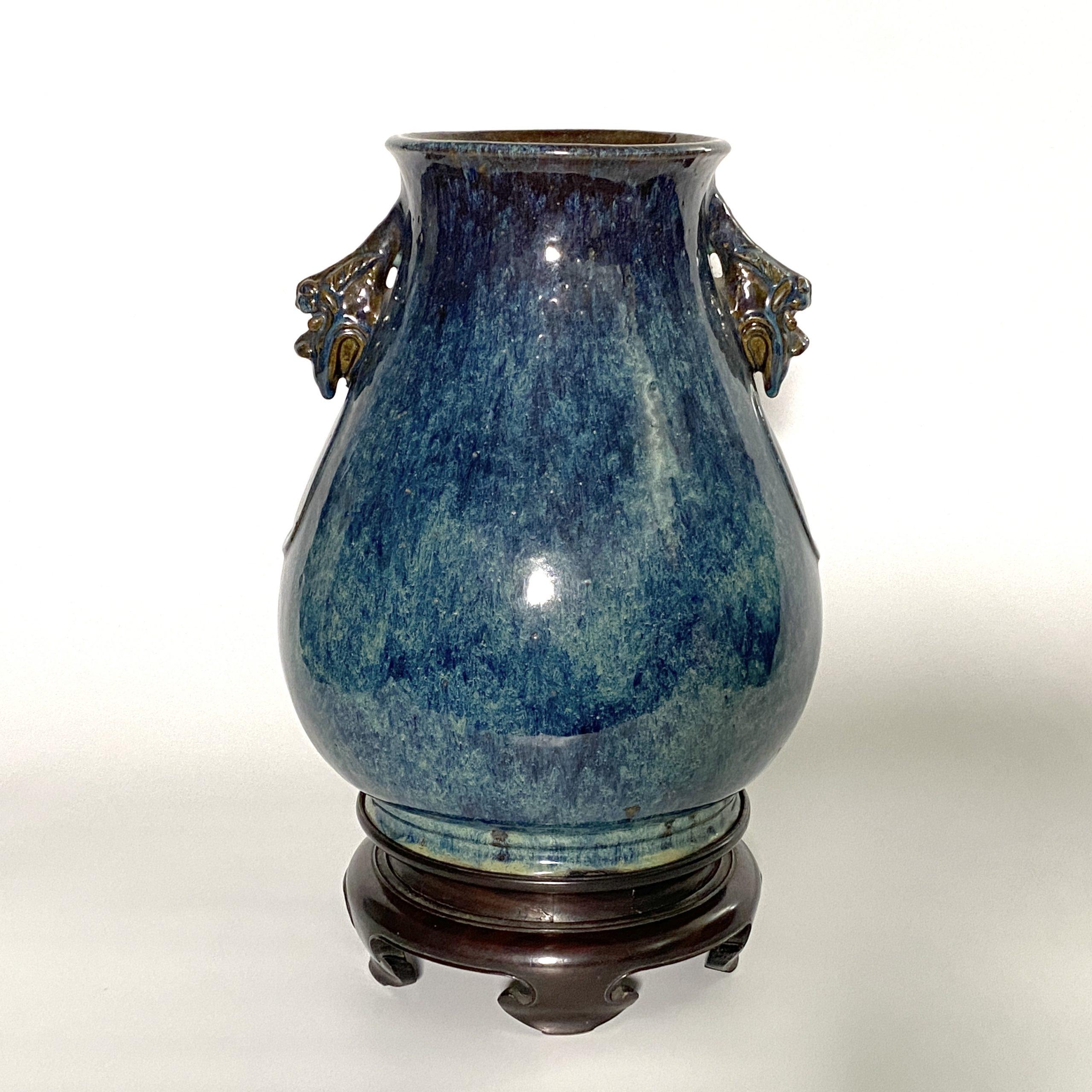 20081清「葛明祥造」款 宜興海鼠釉 獣耳瓶