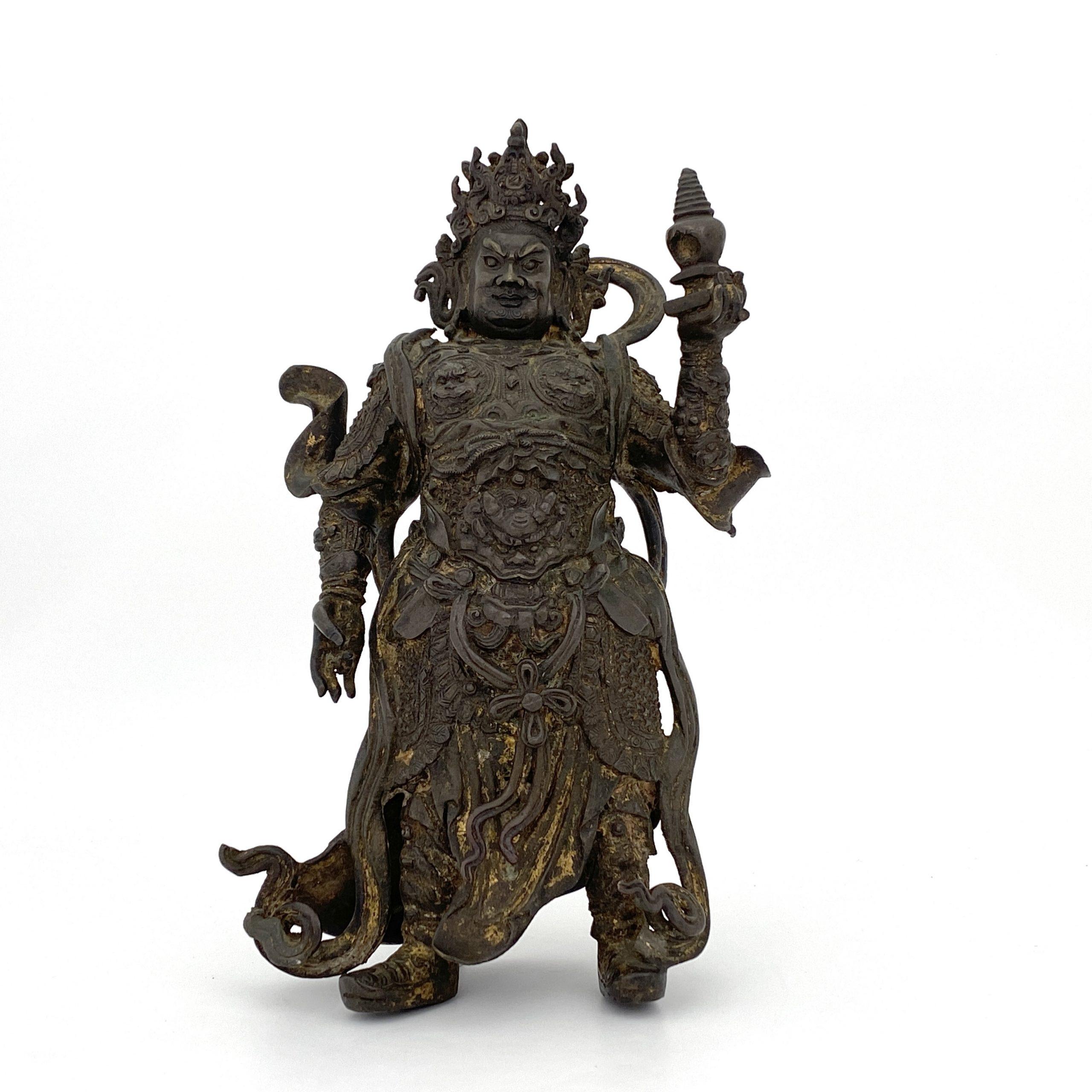 20086明 銅漆金 武人像
