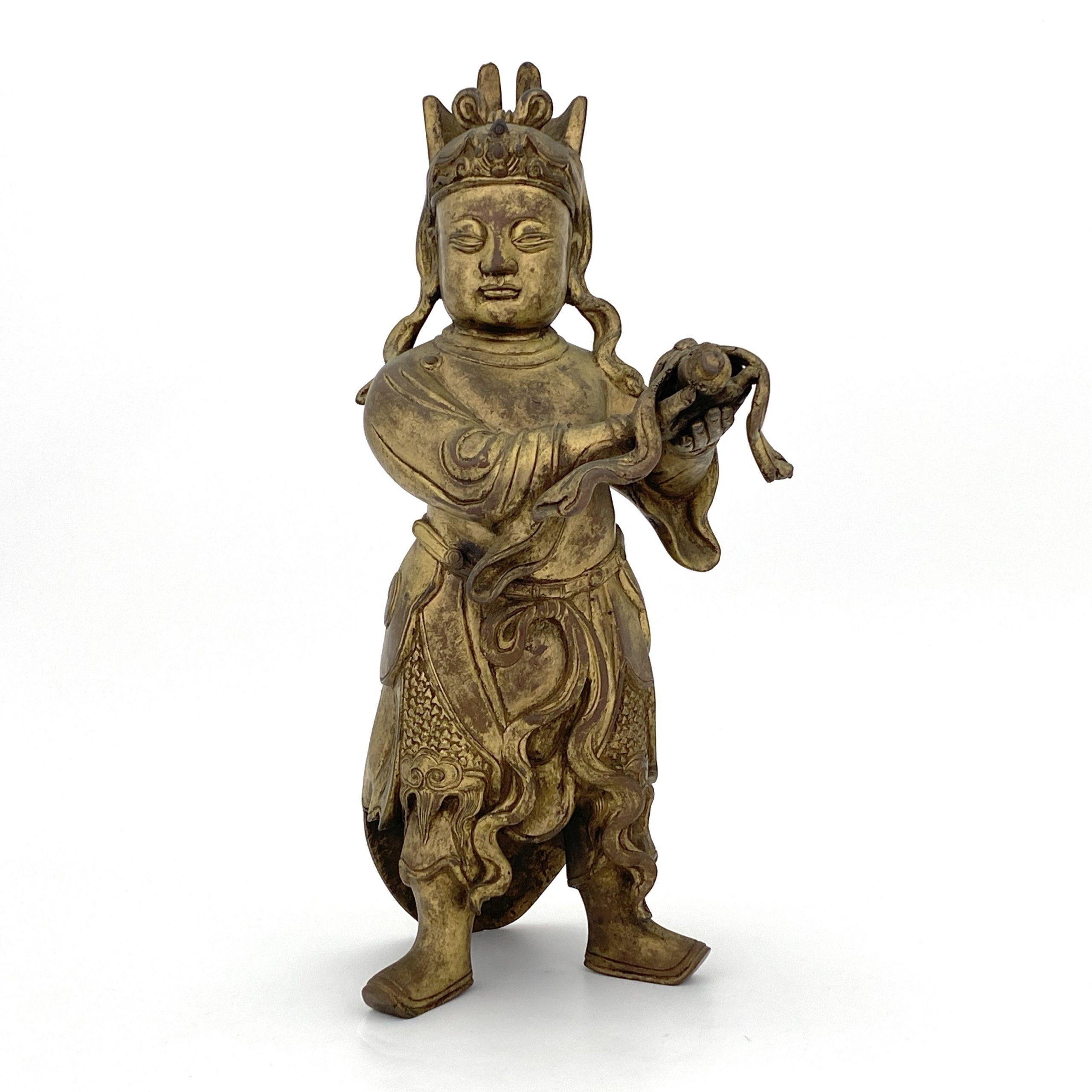 20090明 銅鎏金 人物立像