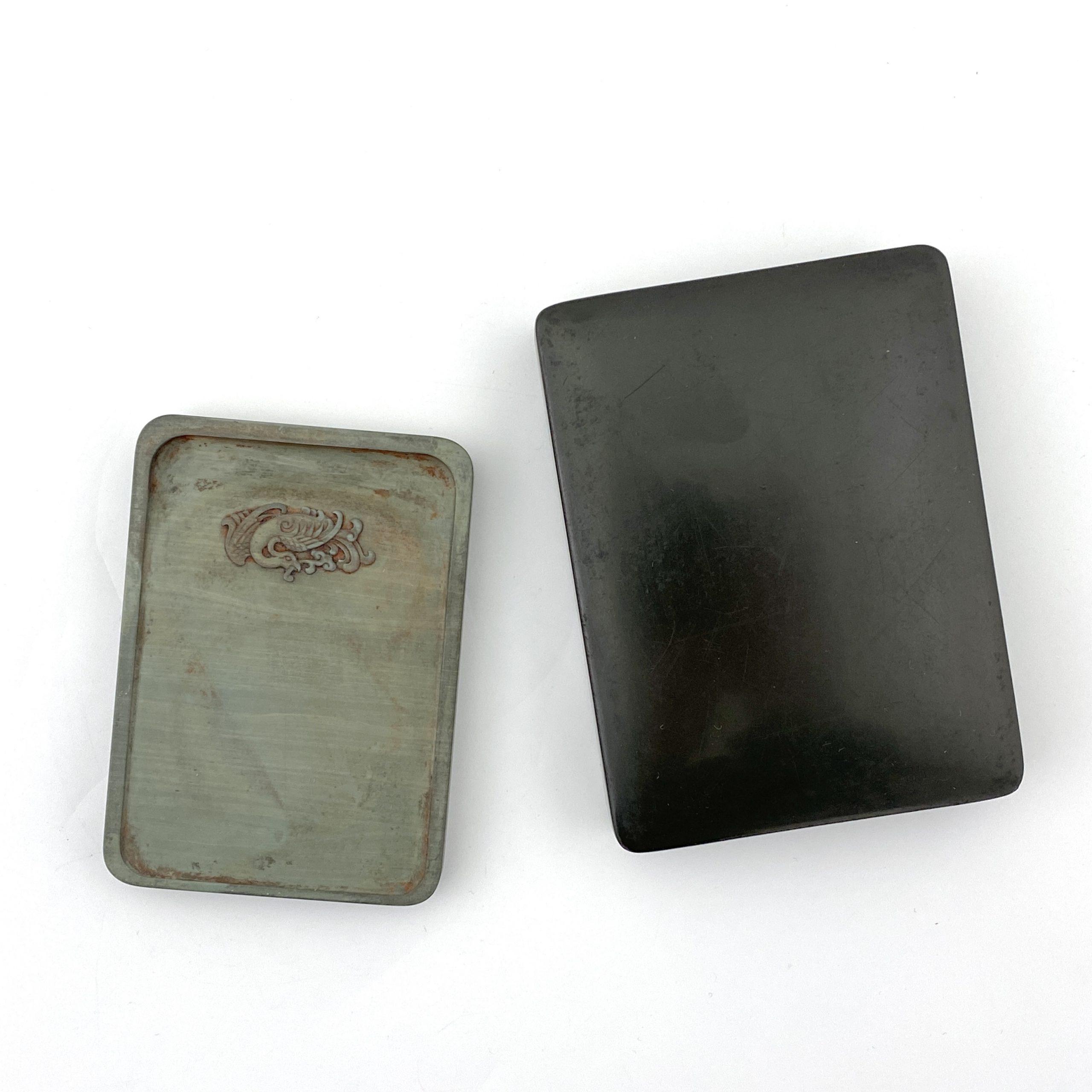 20099「康煕年製」款 松花江石雕 鳳凰紋 硯