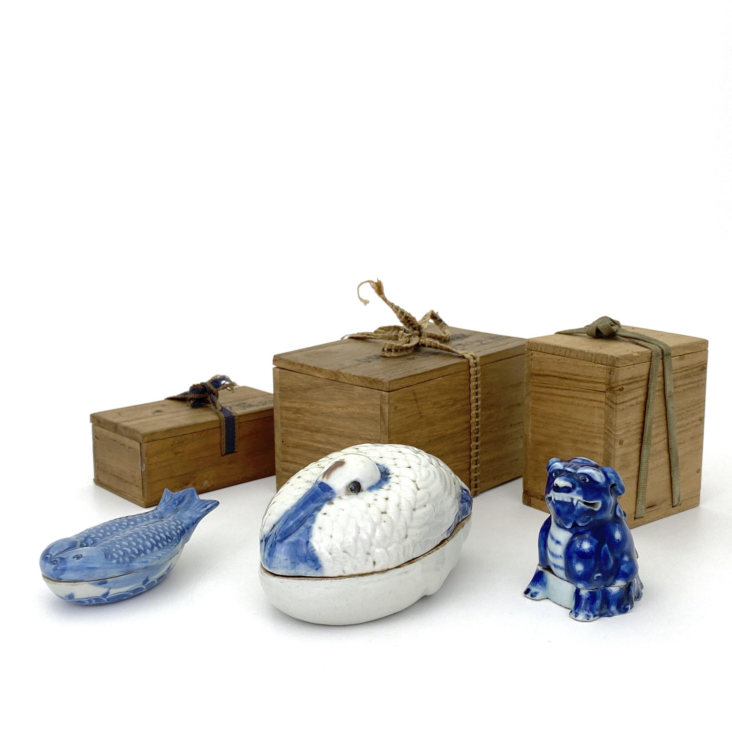 21244清道光「道光年製」款 青花 山水図 鶴形 蓋盒等 計3件