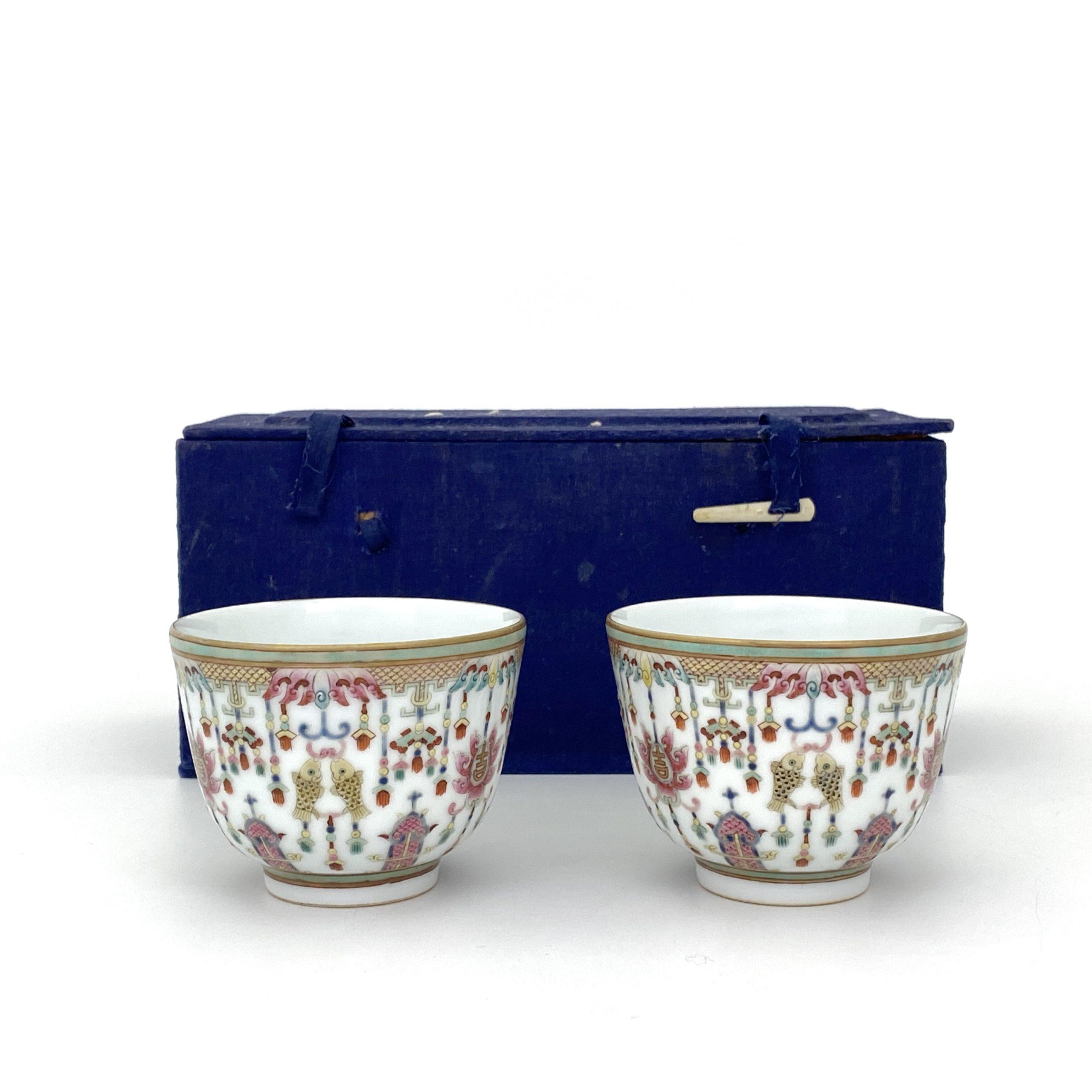 21246「大清道光年製」款 粉彩 吉祥紋 杯 一対