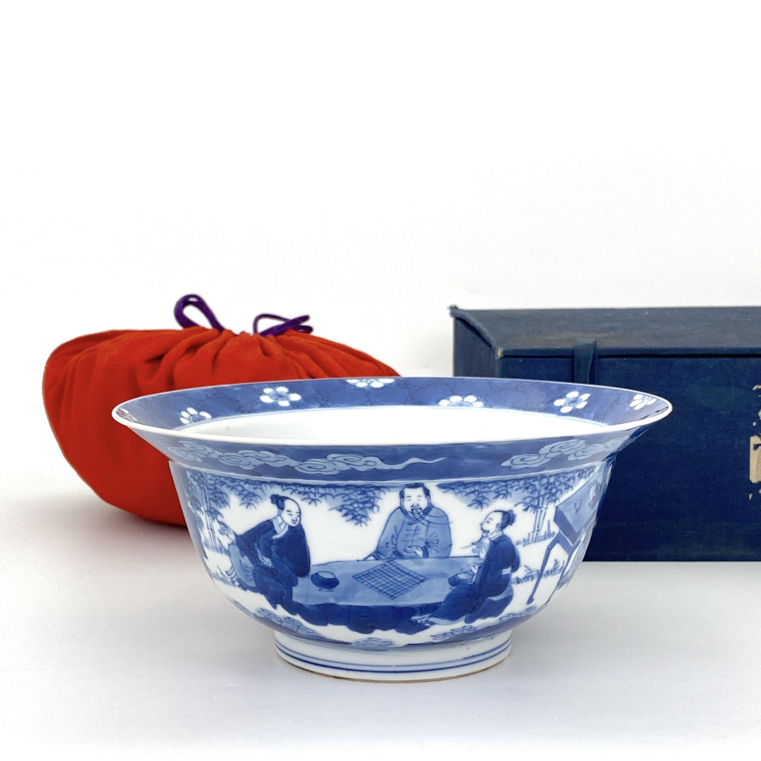 21247清康煕 青花 山水人物図 碗