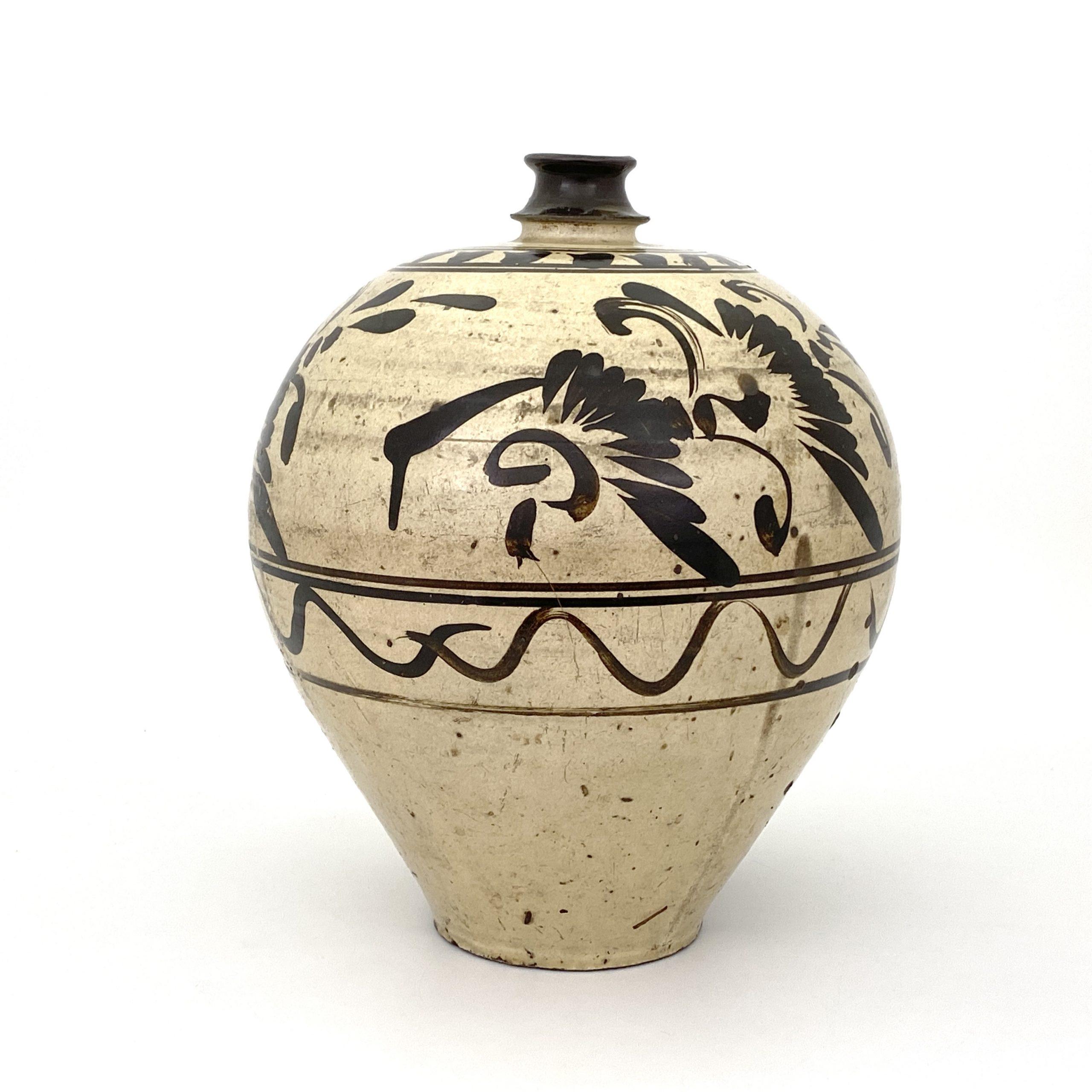 21028金 磁州窯 花紋 梅瓶