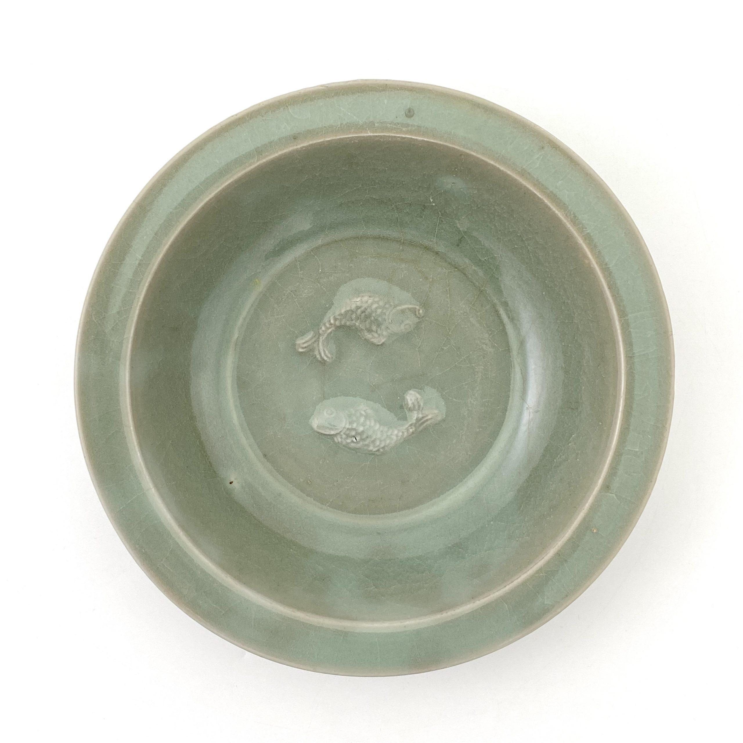 21032南宋 龍泉窯 雙魚紋 盤